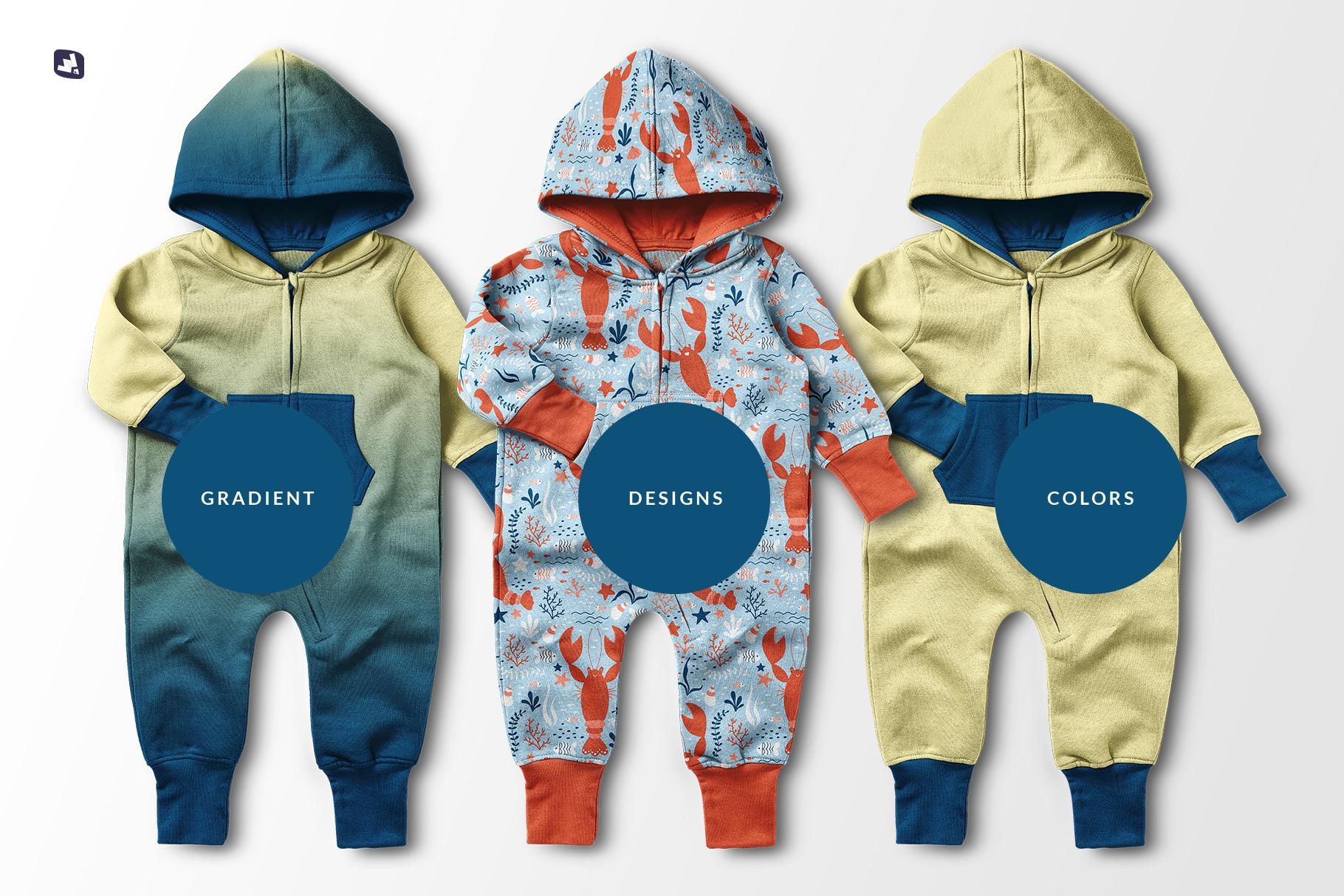 types of the baby hoodie jumpsuit mockup
