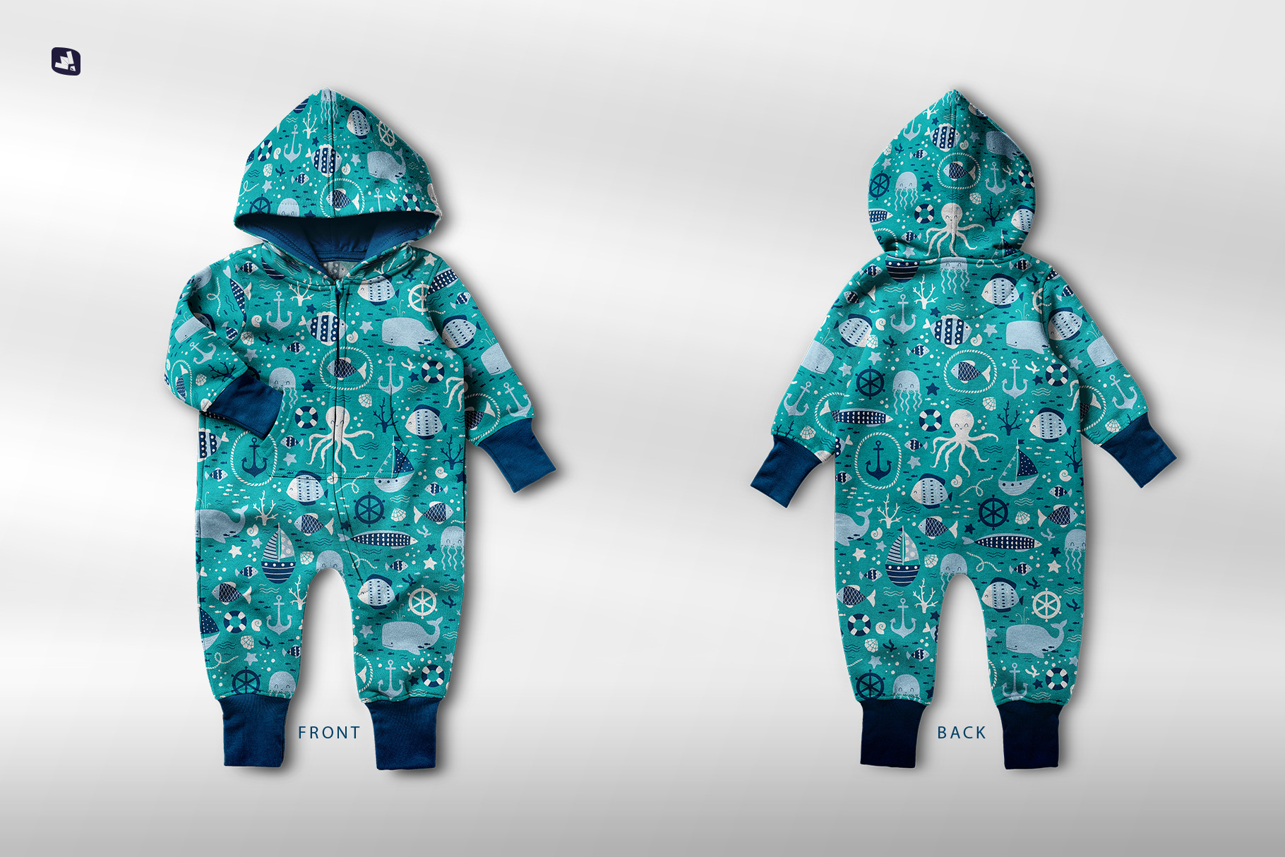 files included in the baby hoodie jumpsuit mockup