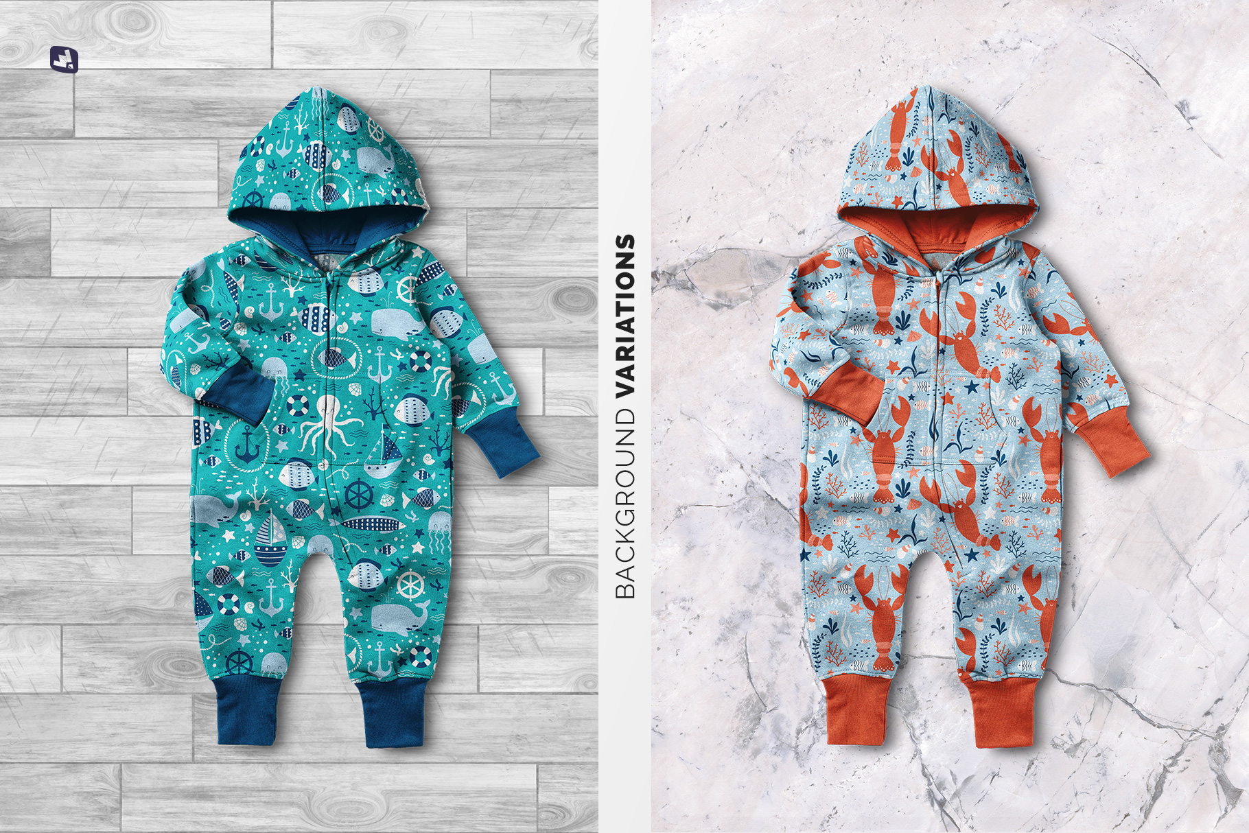 background options of the baby hoodie jumpsuit mockup