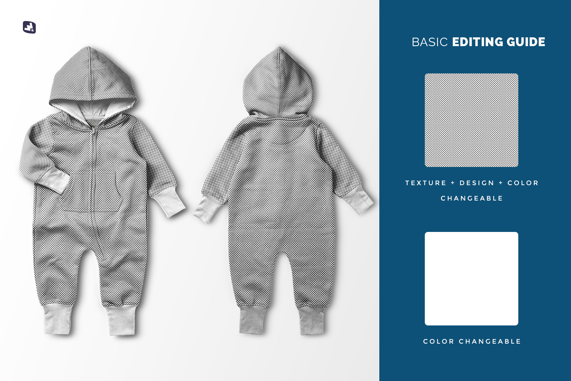 editability of the baby hoodie jumpsuit mockup