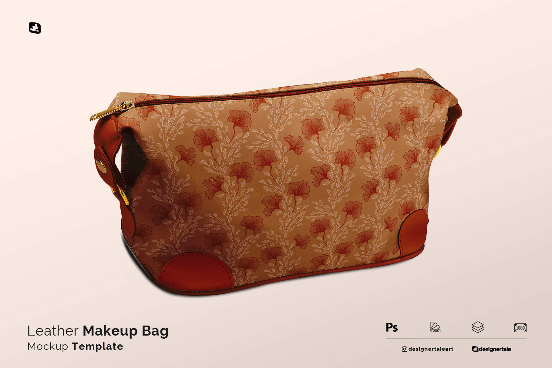 leather makeup bag mockup