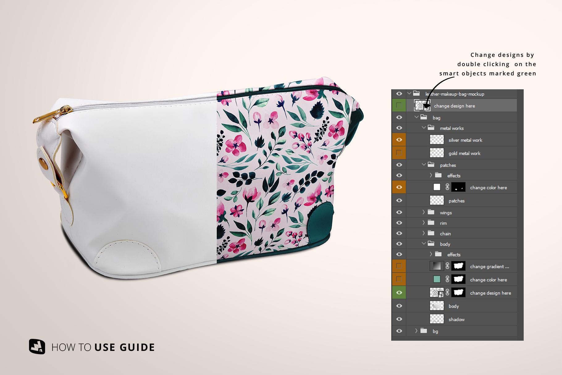 change design of the leather makeup bag mockup