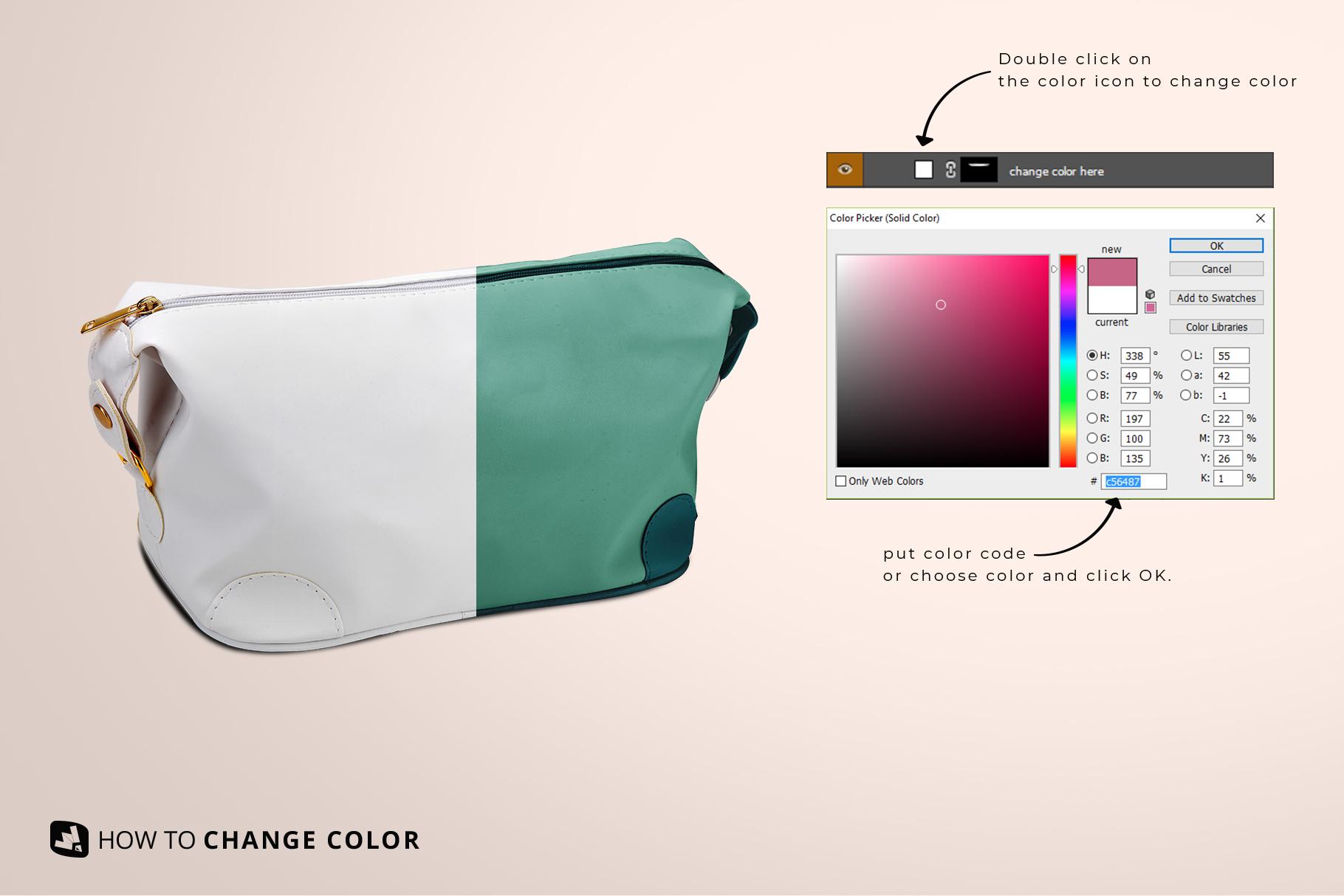 change color of the leather makeup bag mockup