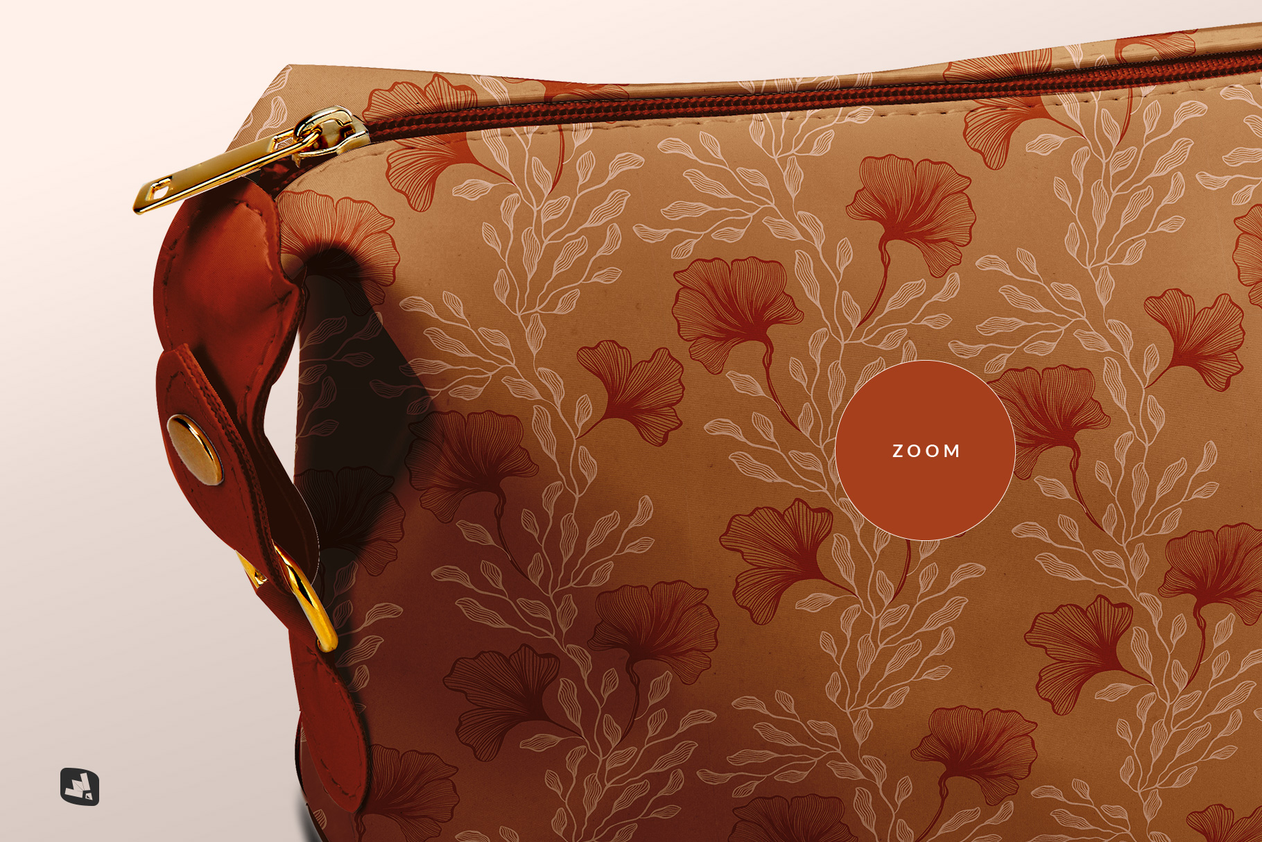zoomed in image of the leather makeup bag mockup