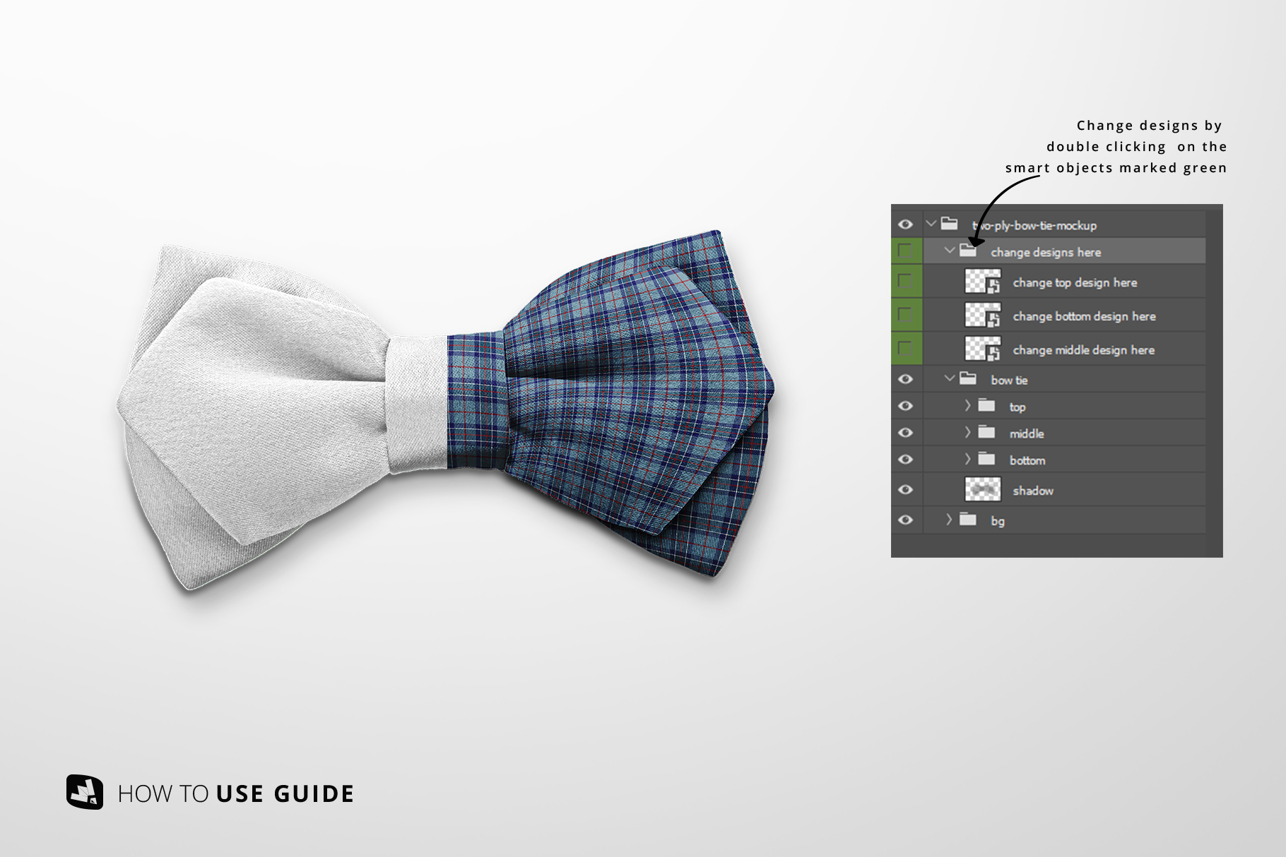 change design of the two-ply bow tie mockup