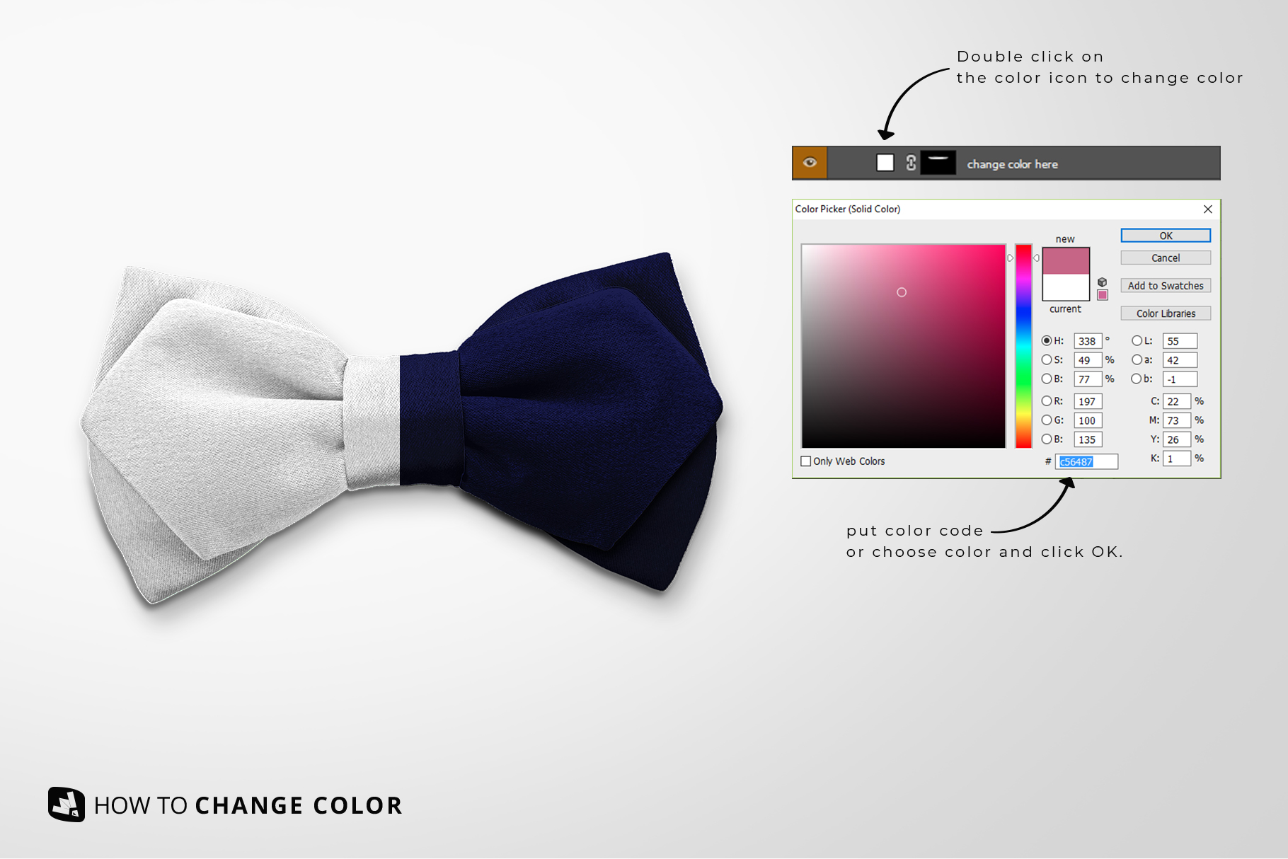 change color of the two-ply bow tie mockup