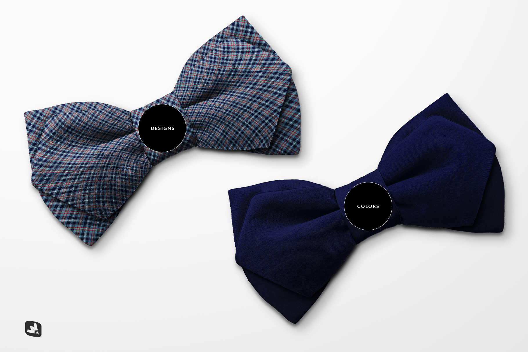 types of the two-ply bow tie mockup