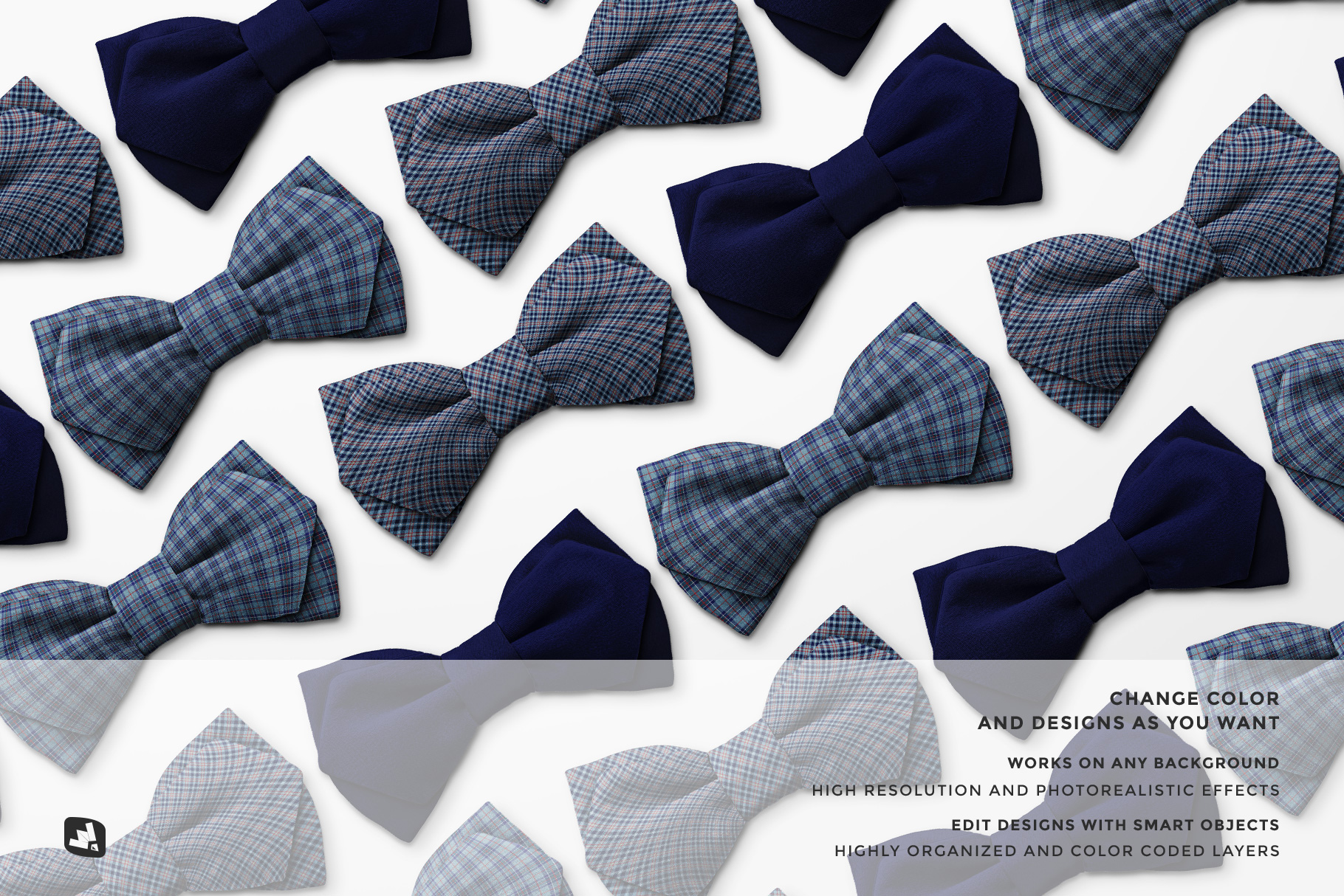 features of the two-ply bow tie mockup