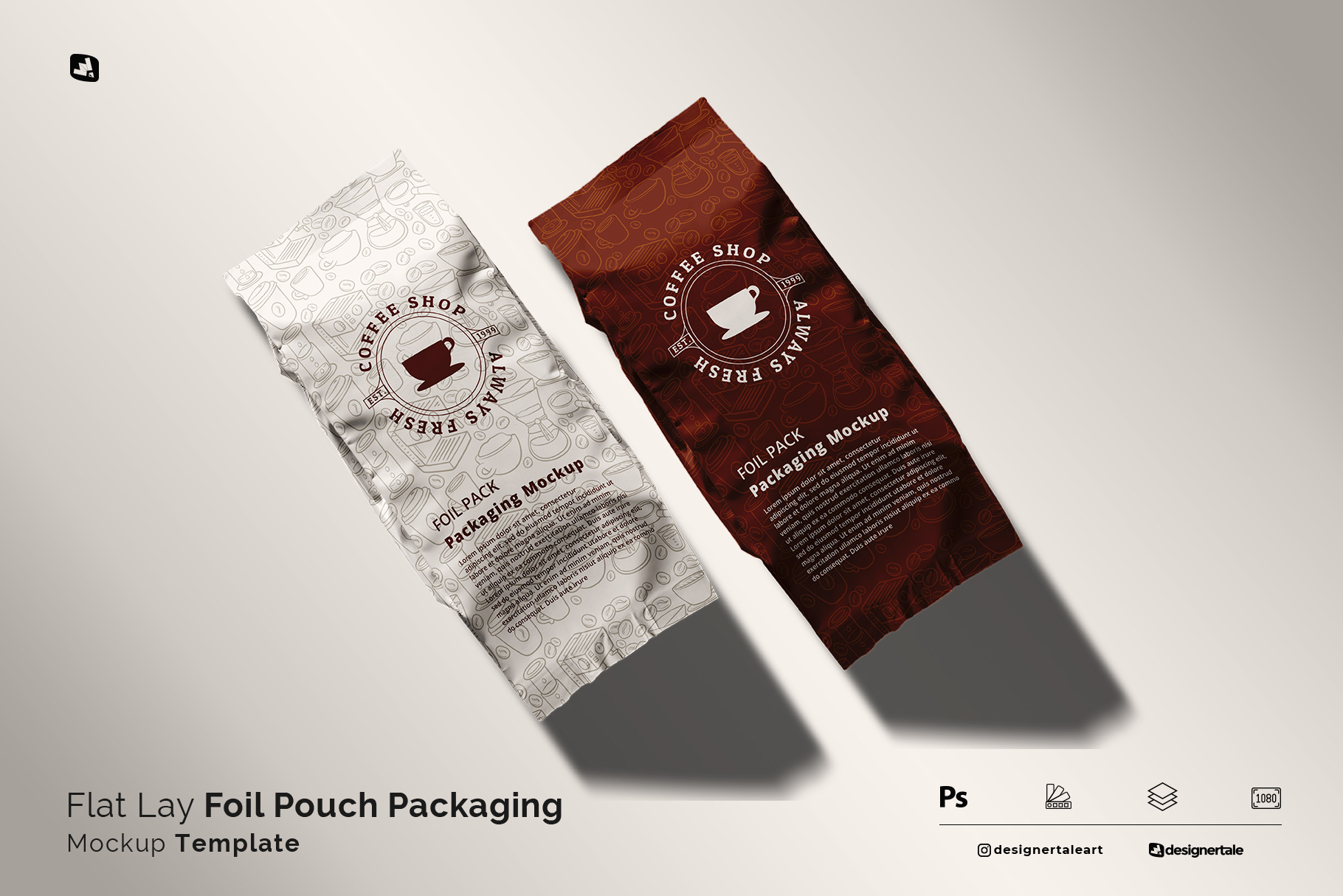 flat lay foil pouch packaging mockup