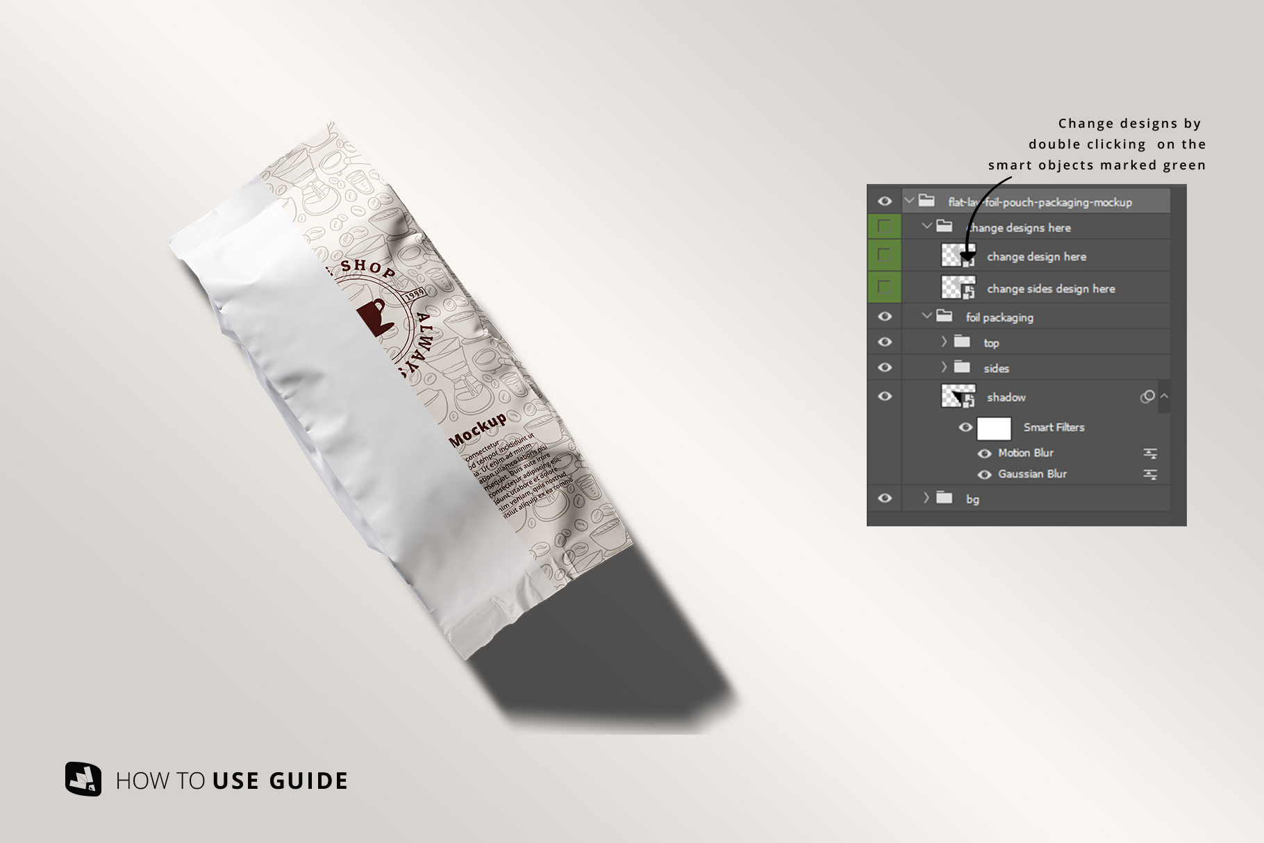 change design of the flat lay foil pouch packaging mockup