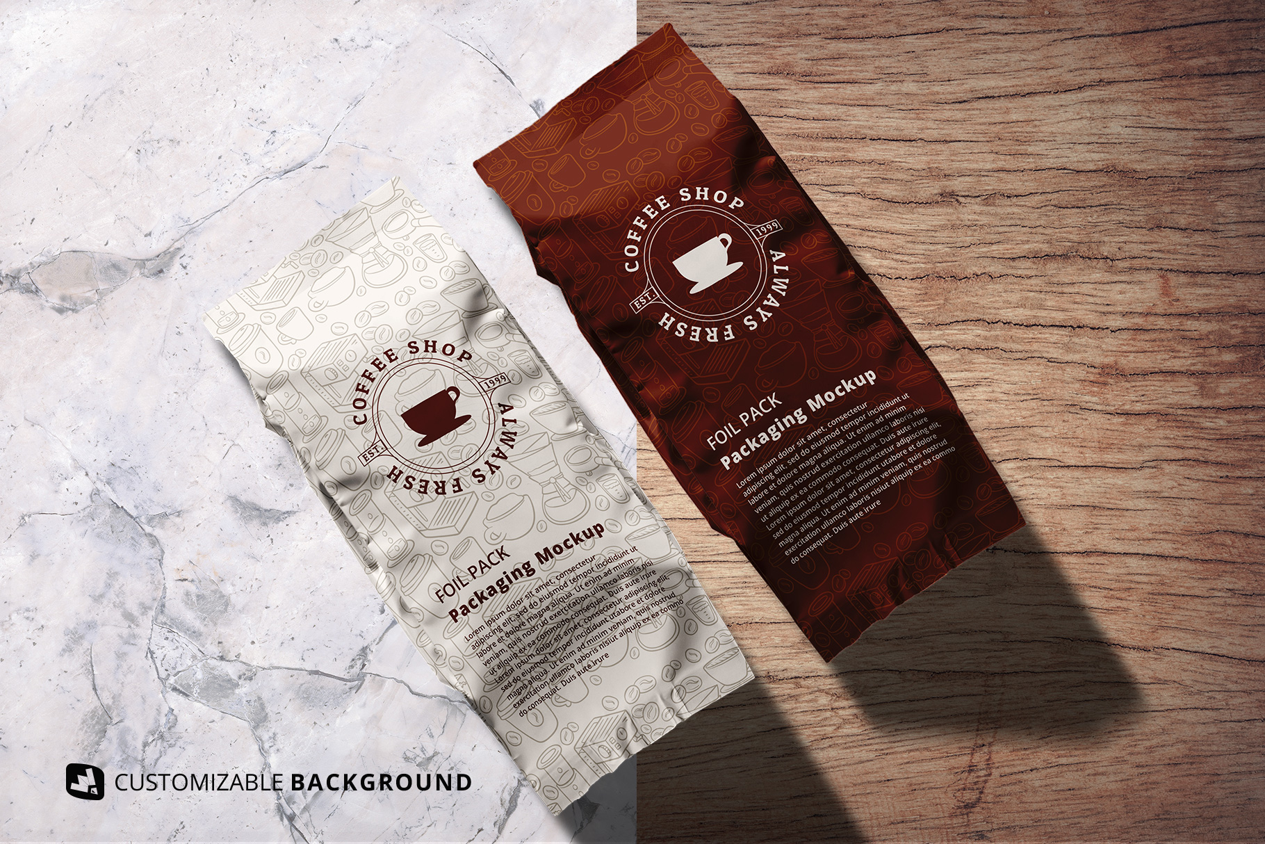 background options of the flat lay foil pouch packaging mockup