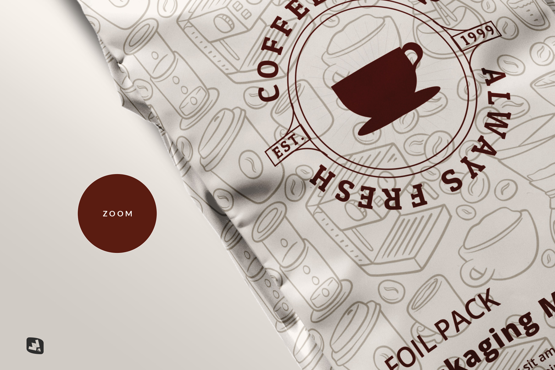 zoomed in image of the flat lay foil pouch packaging mockup