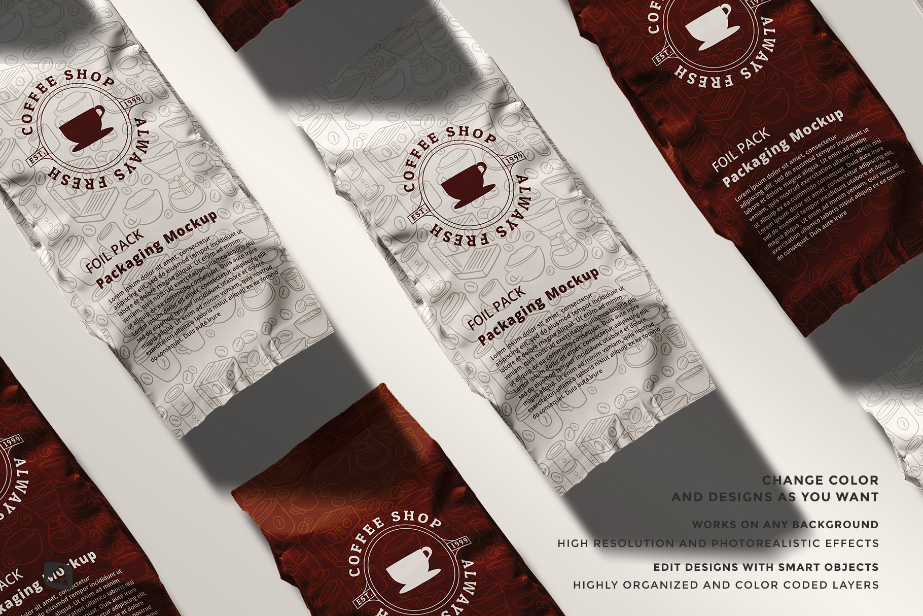 features of the flat lay foil pouch packaging mockup