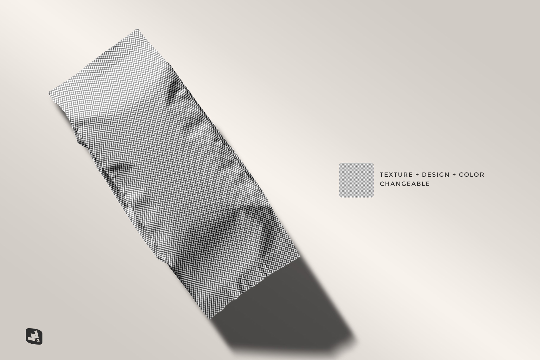 editability of the flat lay foil pouch packaging mockup