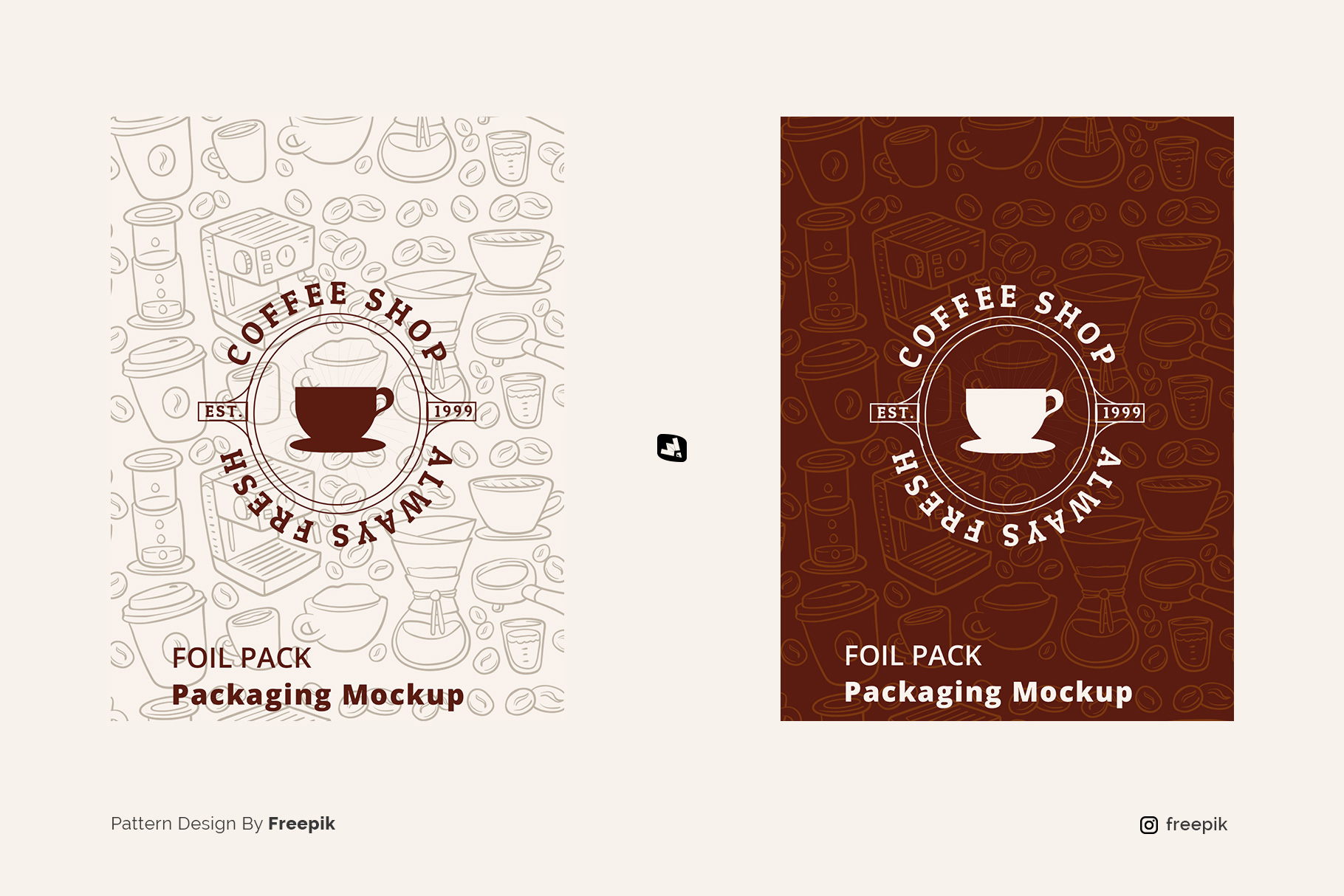 designer's credit of the flat lay foil pouch packaging mockup