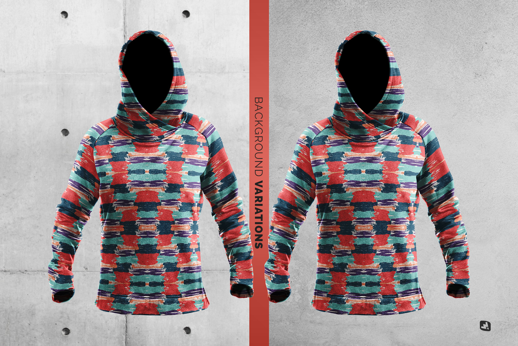 background options of the female wrapped hoodie set mockup
