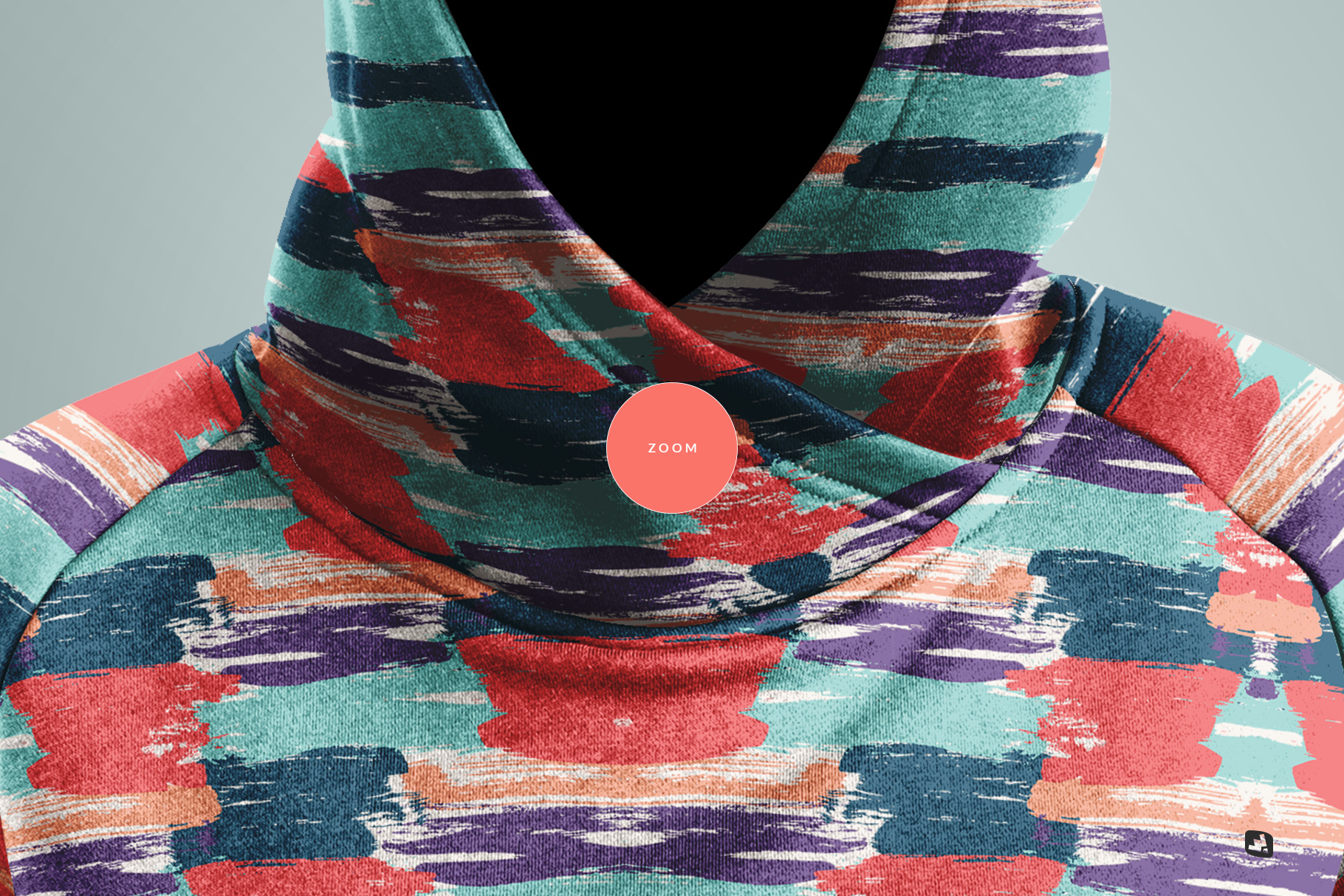 zoomed in image of the female wrapped hoodie set mockup
