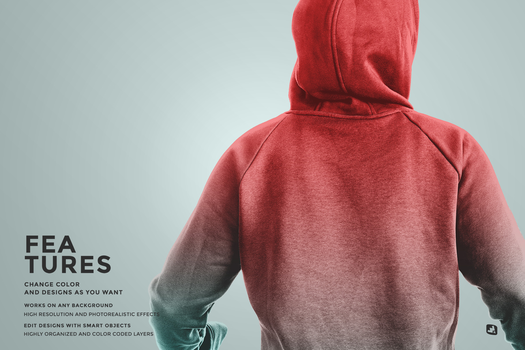 features of the female wrapped hoodie set mockup