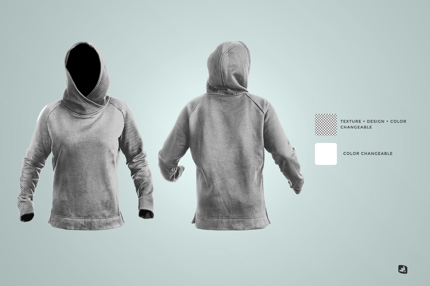 editability of the female wrapped hoodie set mockup
