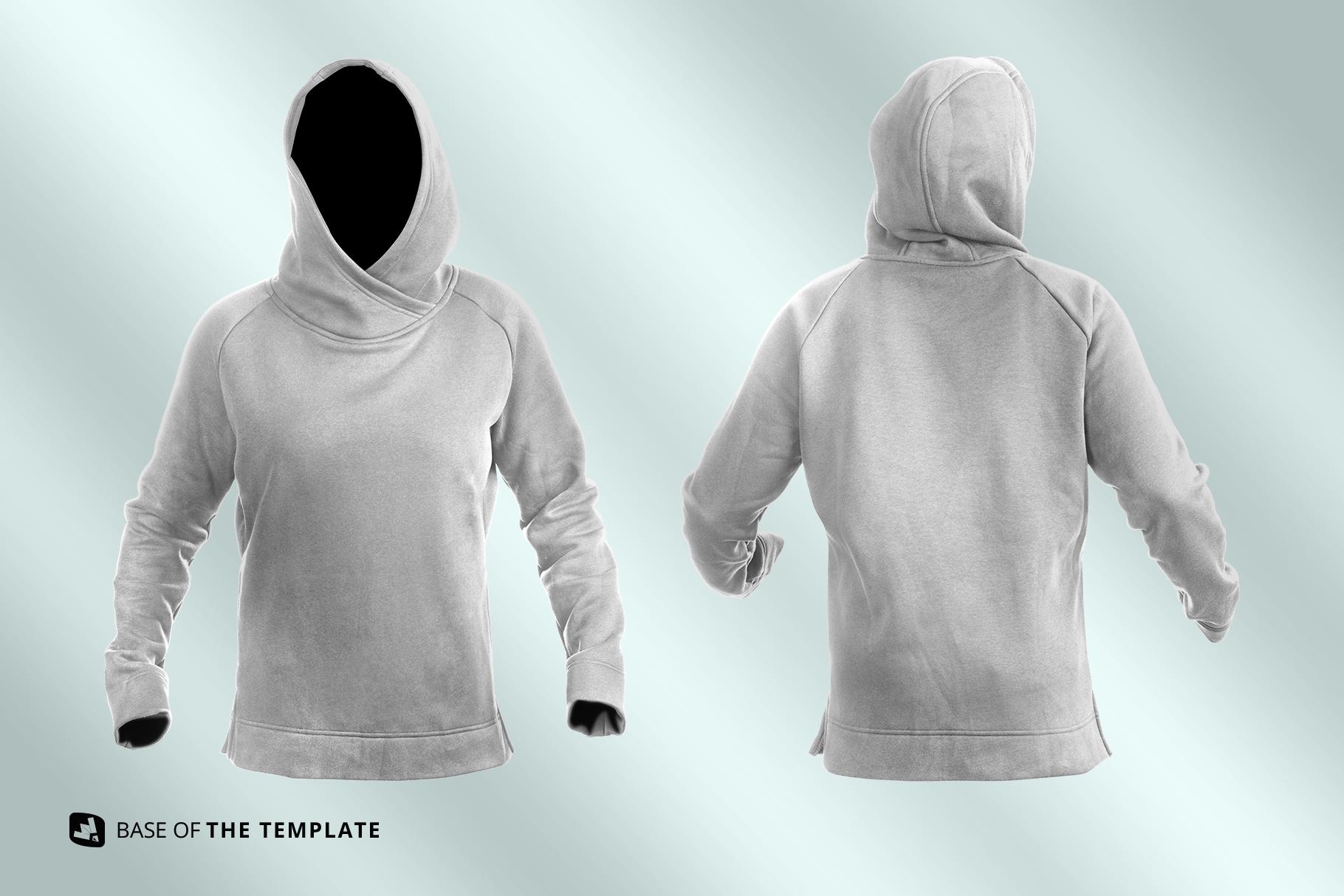 base image of the female wrapped hoodie set mockup