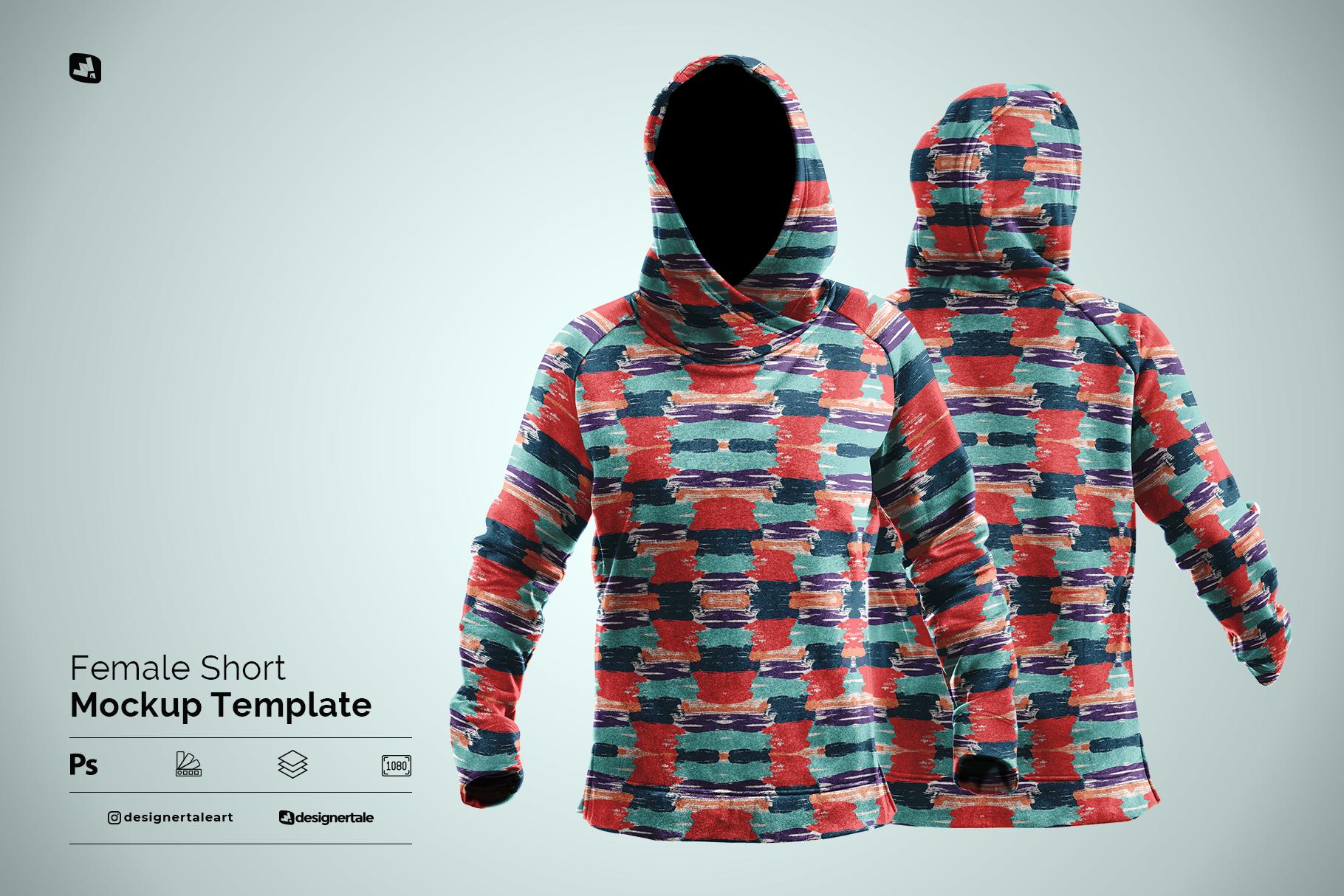 female wrapped hoodie set mockup