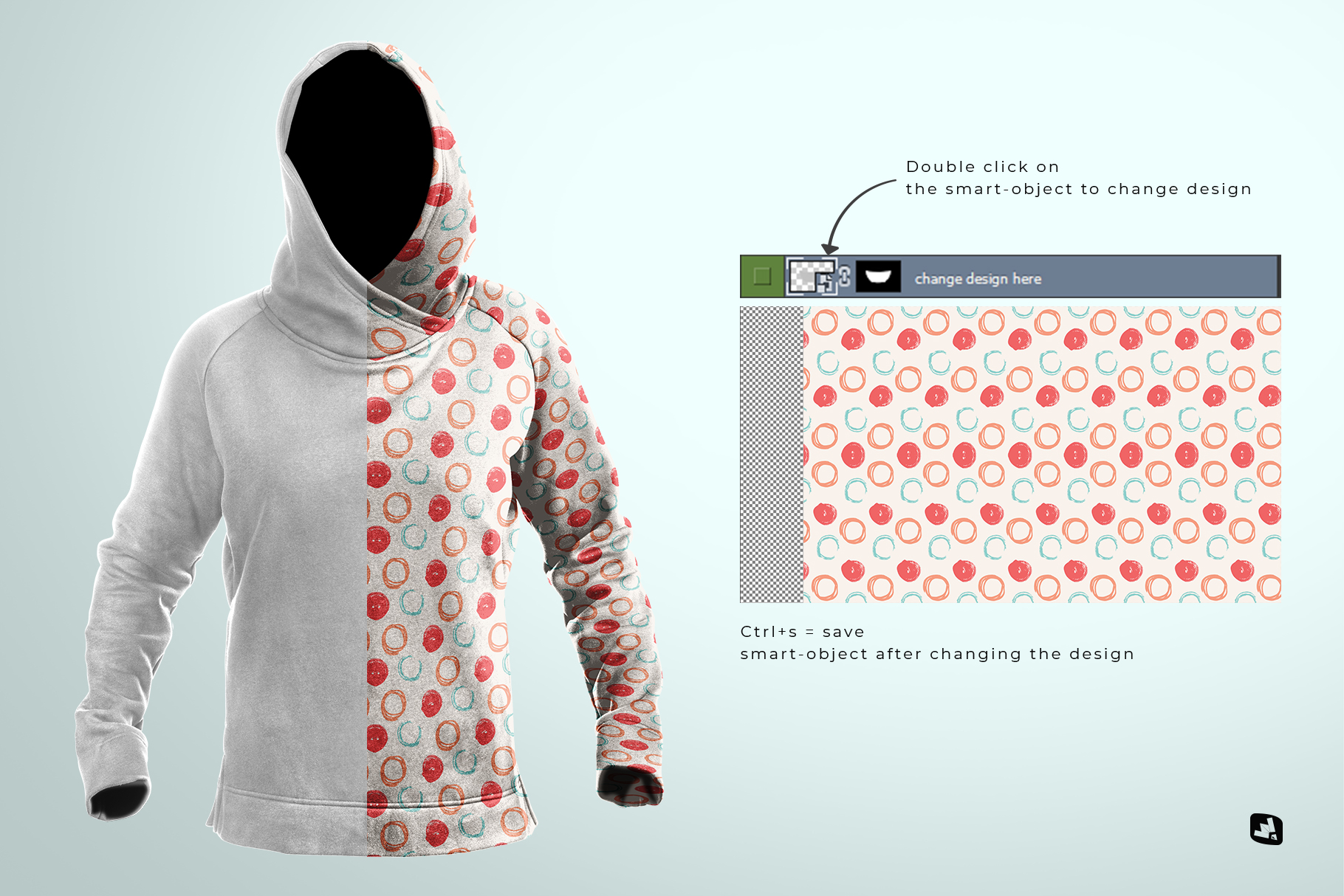 change design of the female wrapped hoodie set mockup