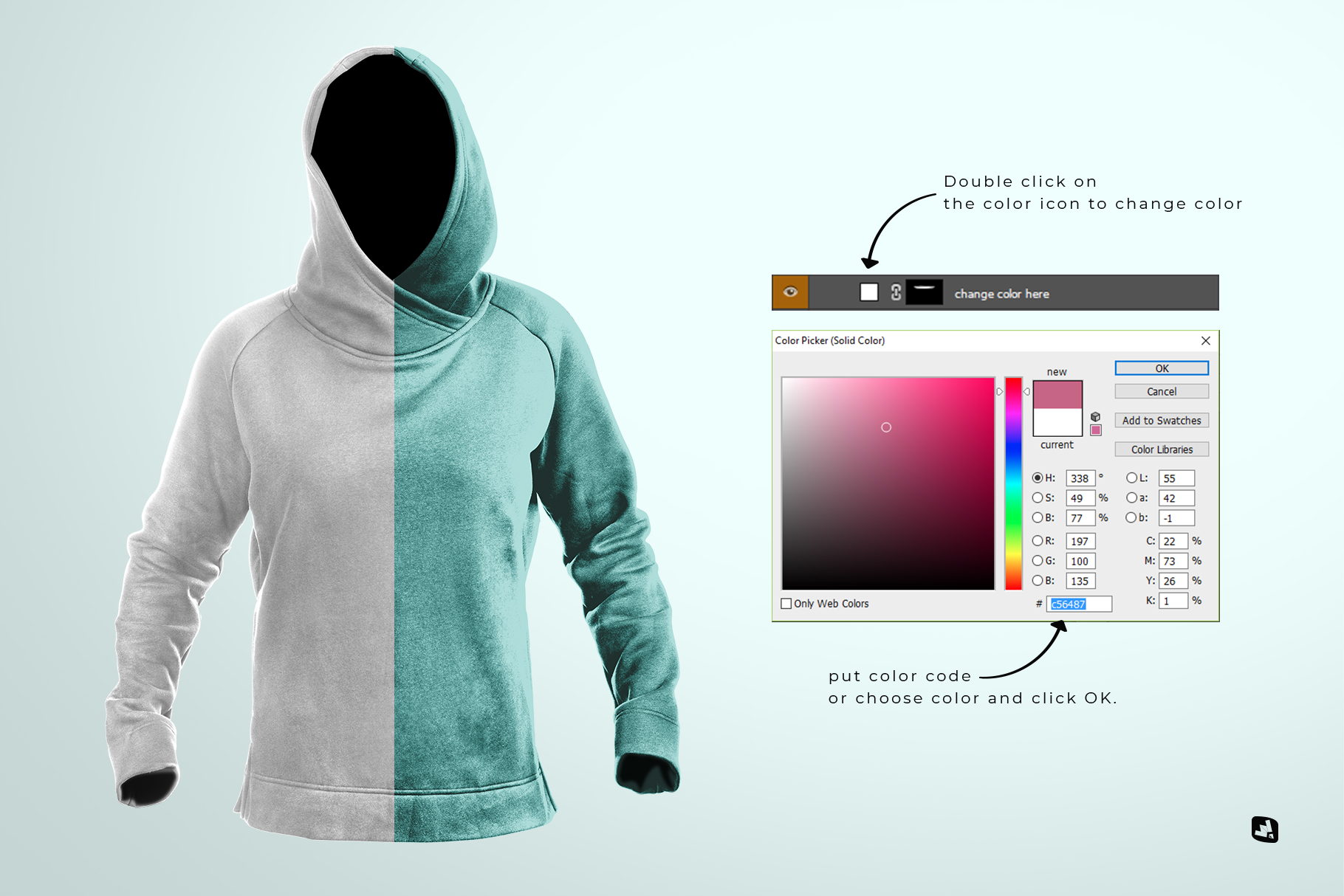 change color of the female wrapped hoodie set mockup
