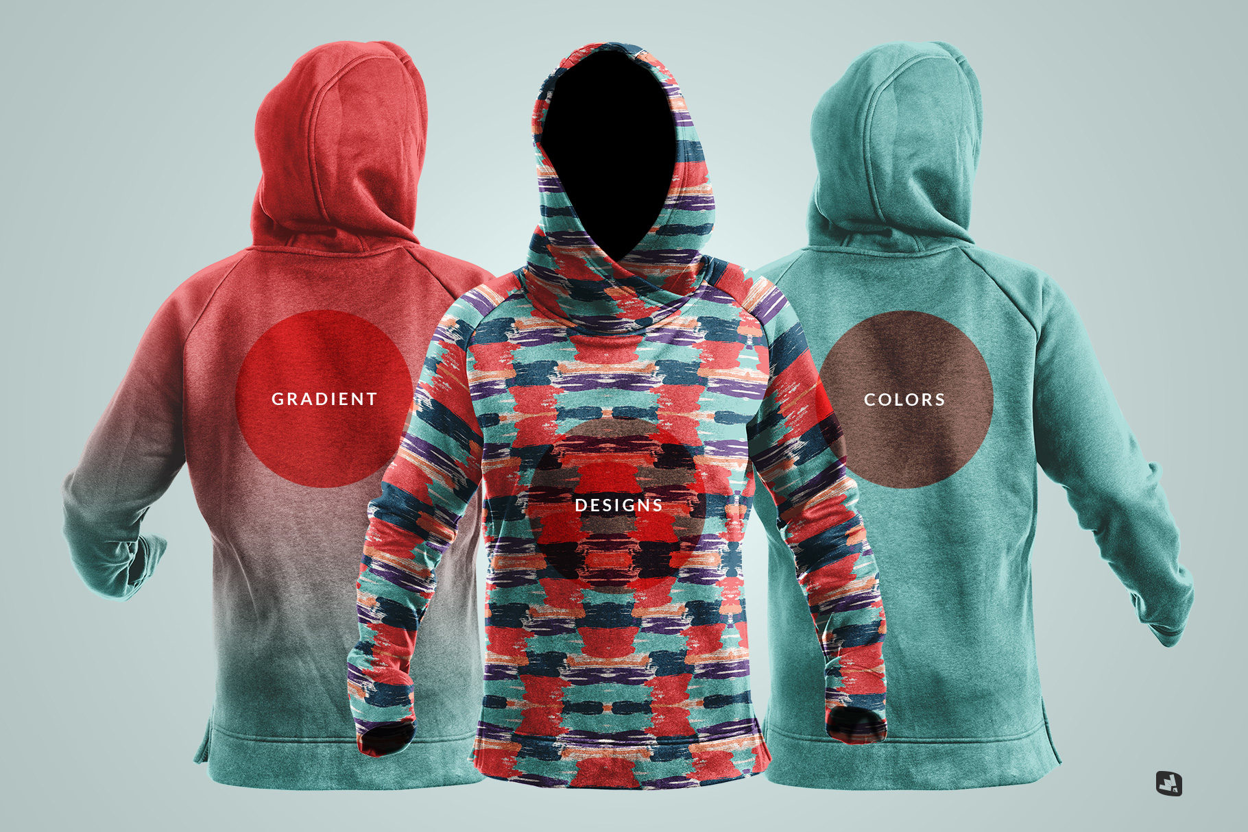 types of the female wrapped hoodie set mockup
