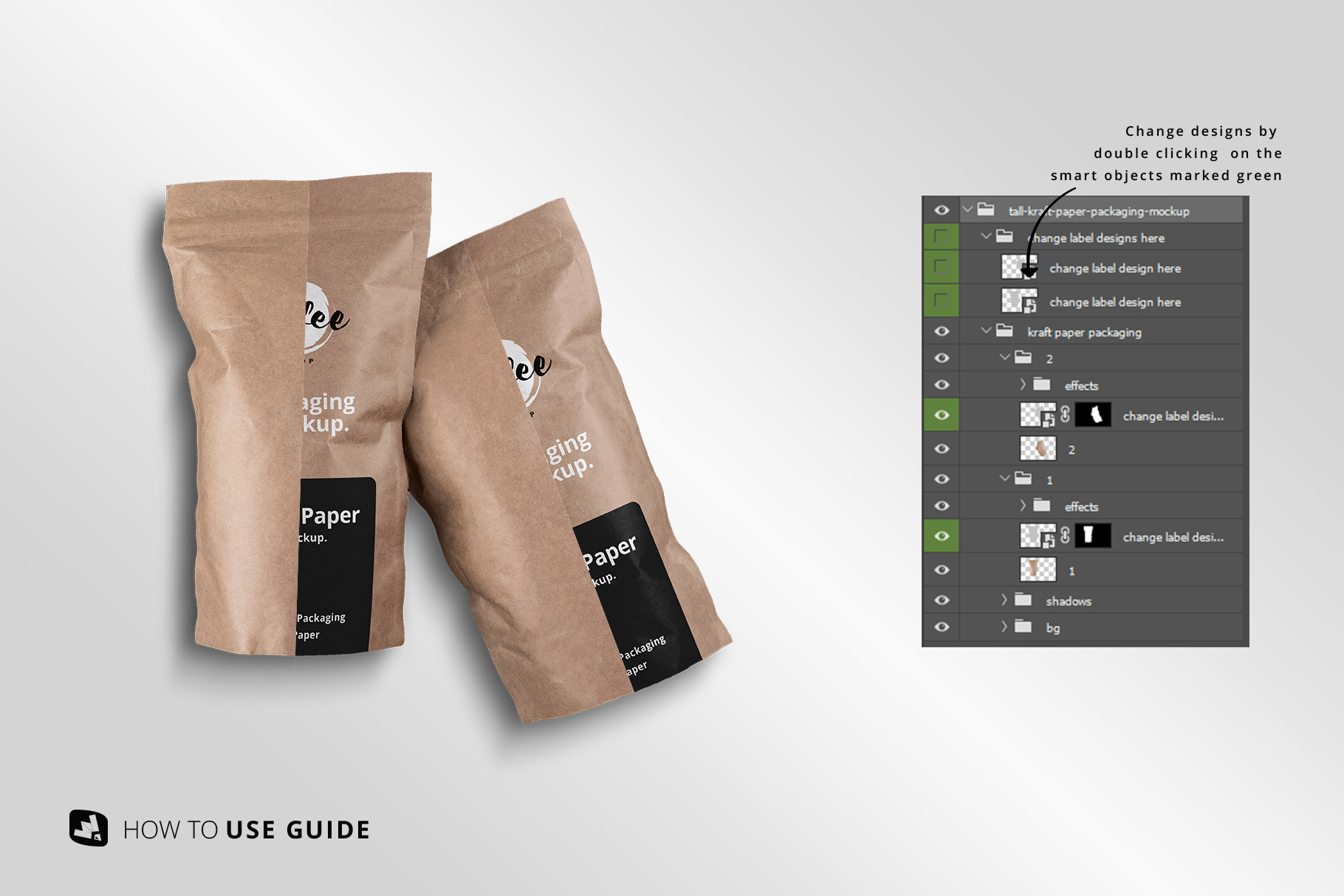 change label design of the tall kraft paper packaging mockup