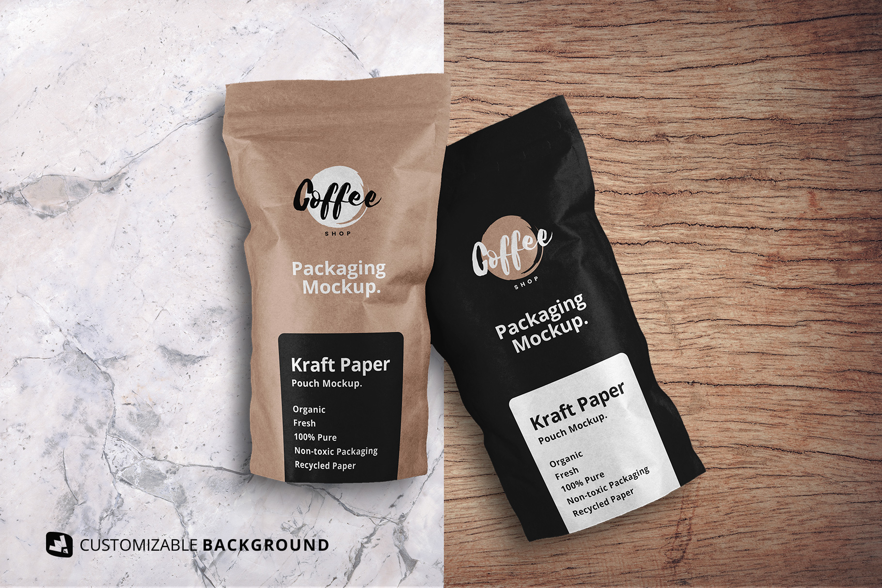 change background options of the tall kraft paper packaging mockup