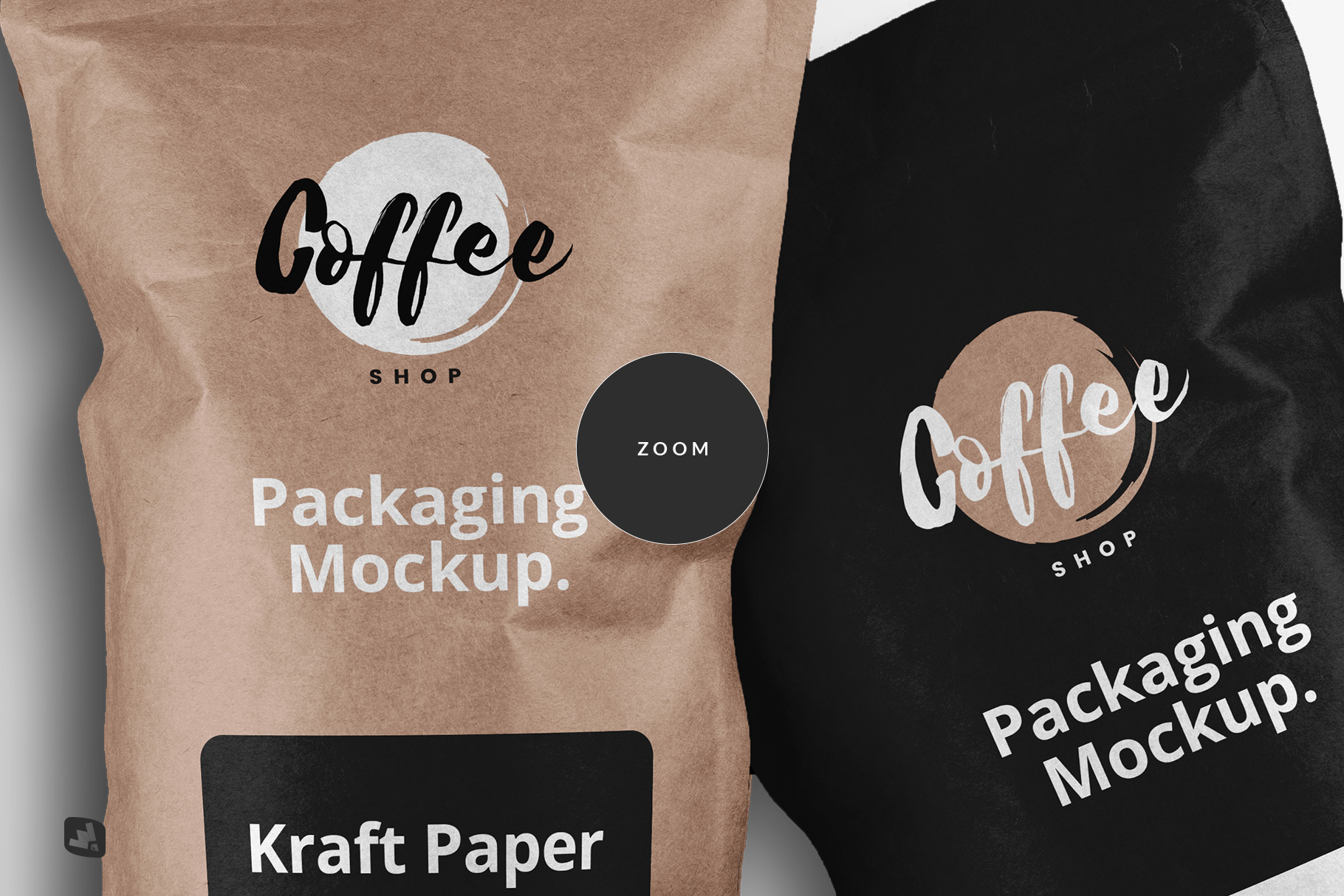 zoomed in image of the tall kraft paper packaging mockup