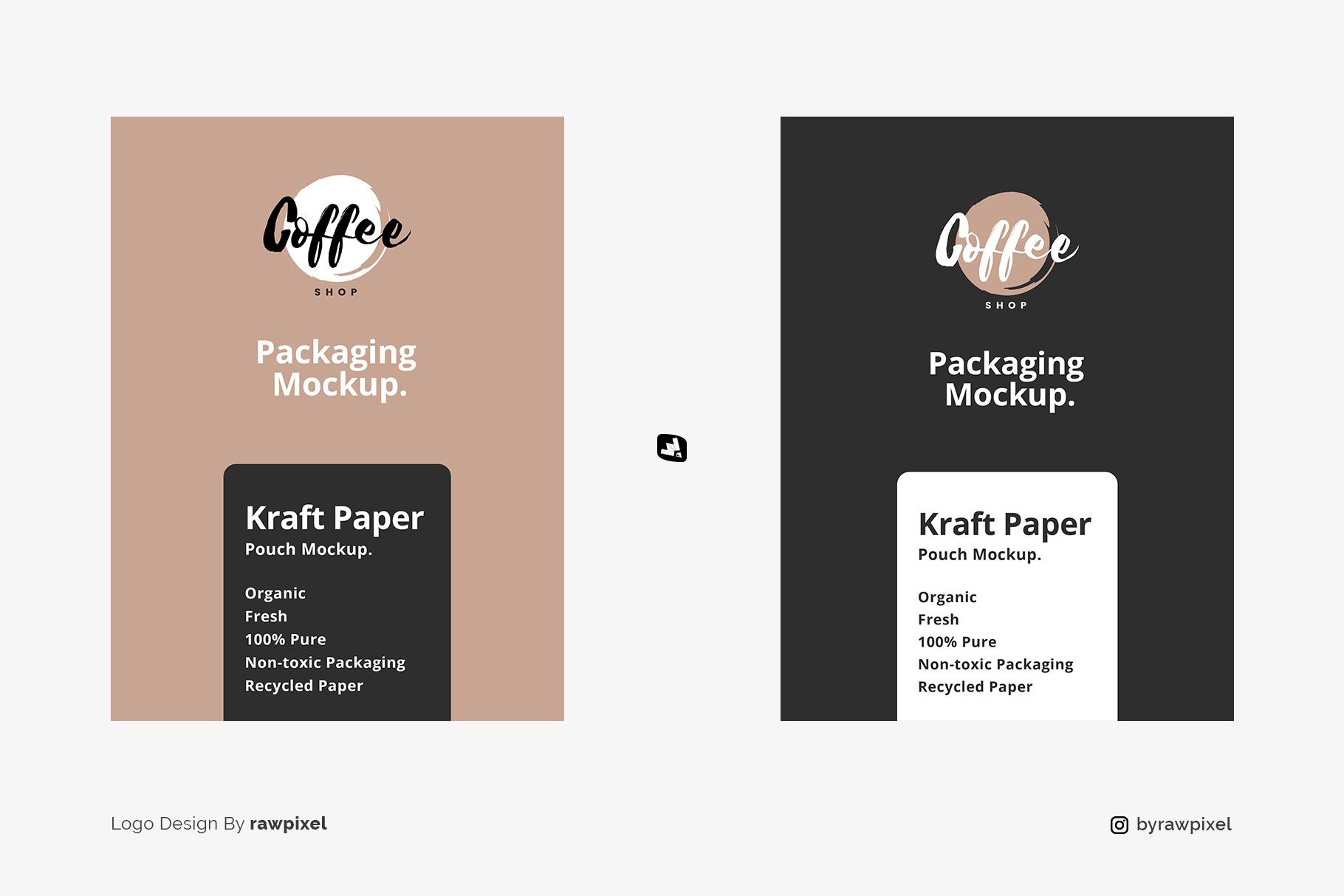designer's credit of the tall kraft paper packaging mockup