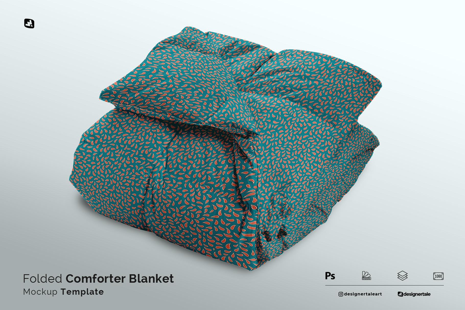 folded comforter blanket mockup