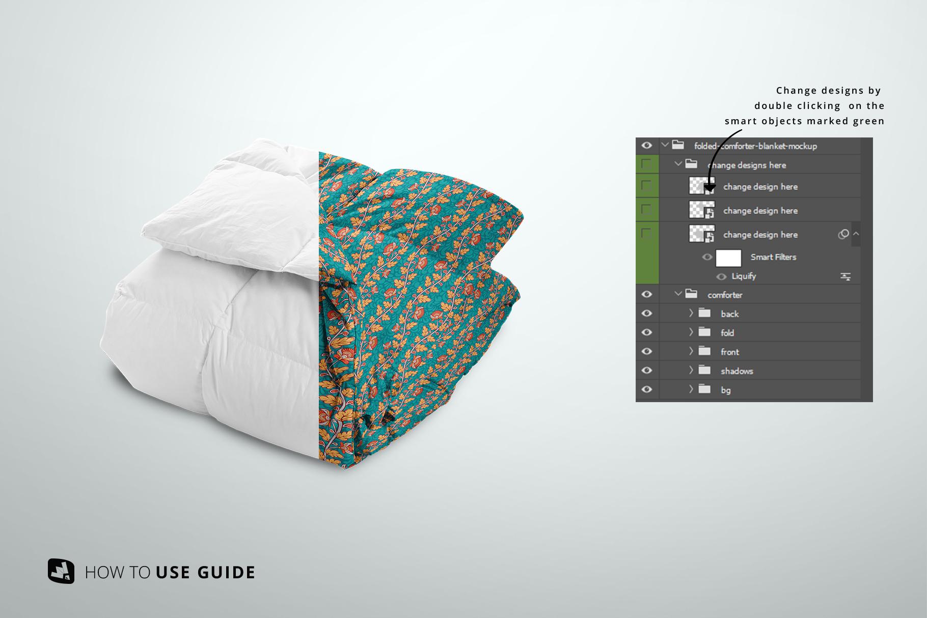 change design of the folded comforter blanket mockup