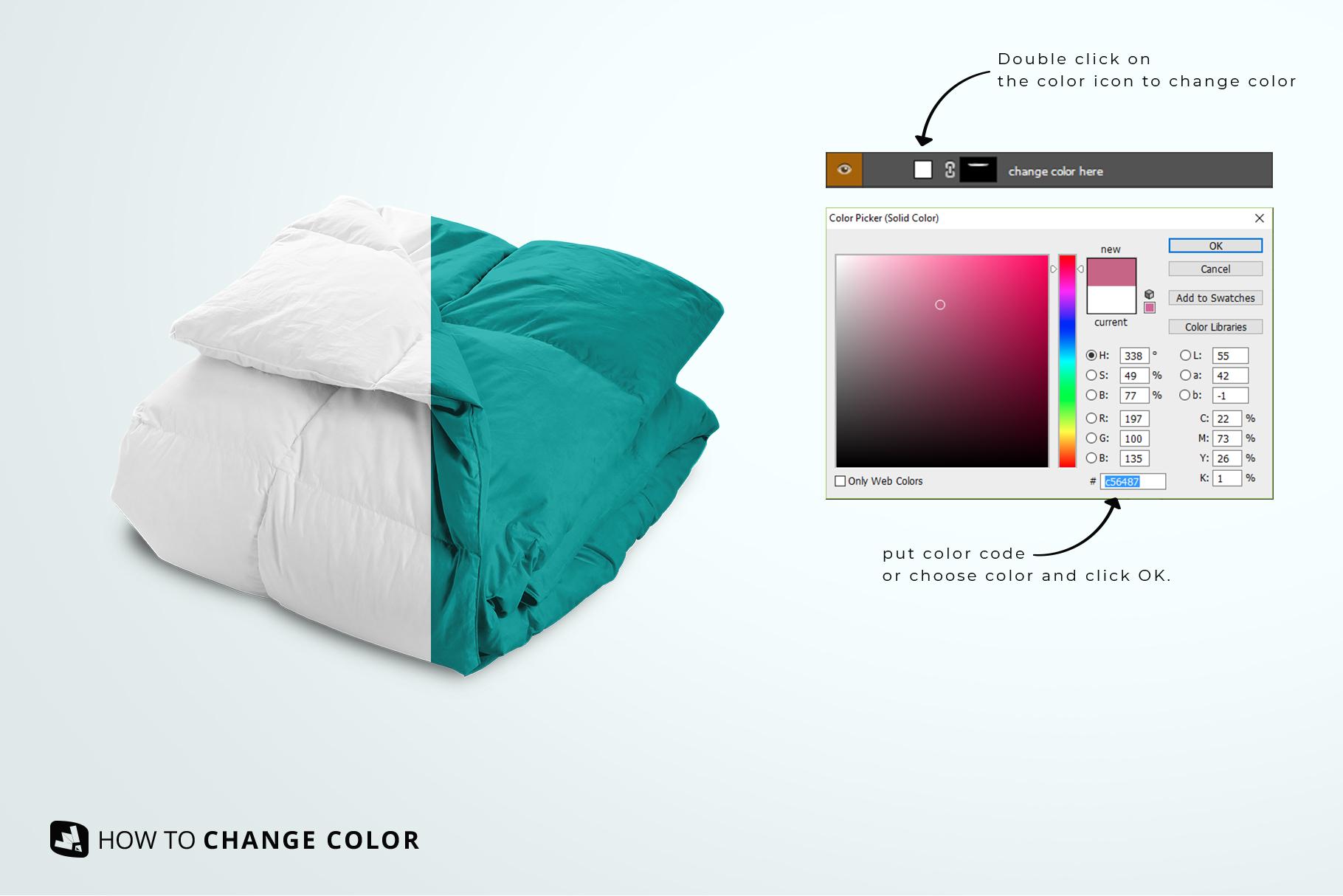 change color of the folded comforter blanket mockup