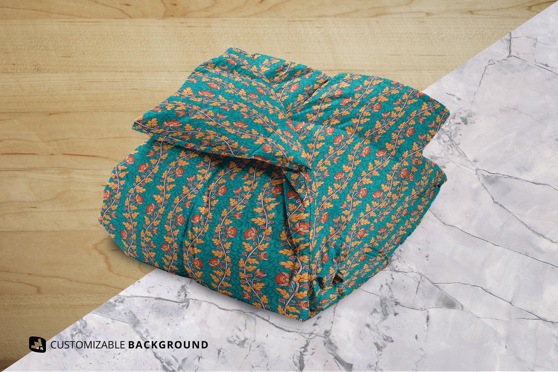 background options of the folded comforter blanket mockup