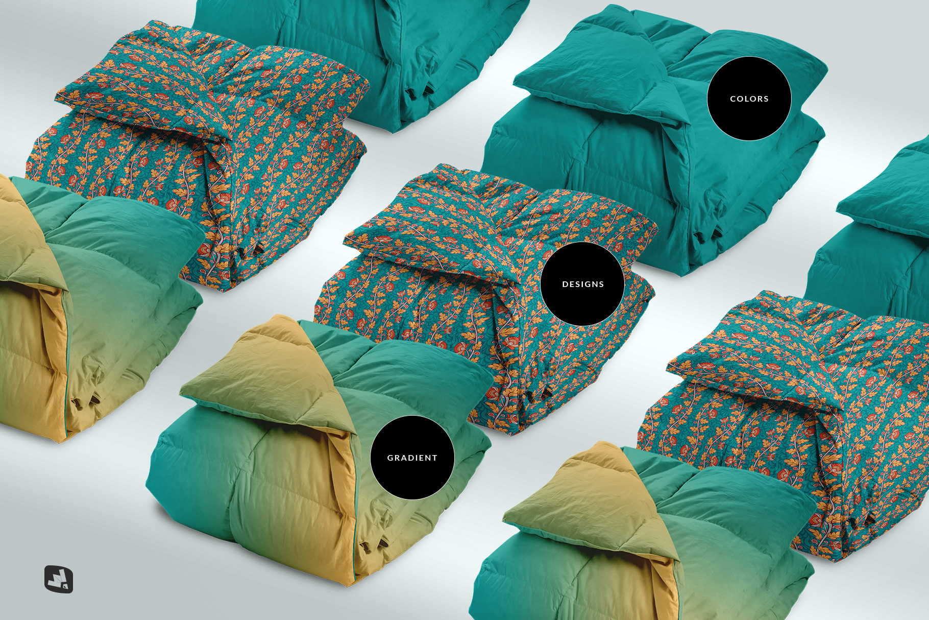 types of the folded comforter blanket mockup