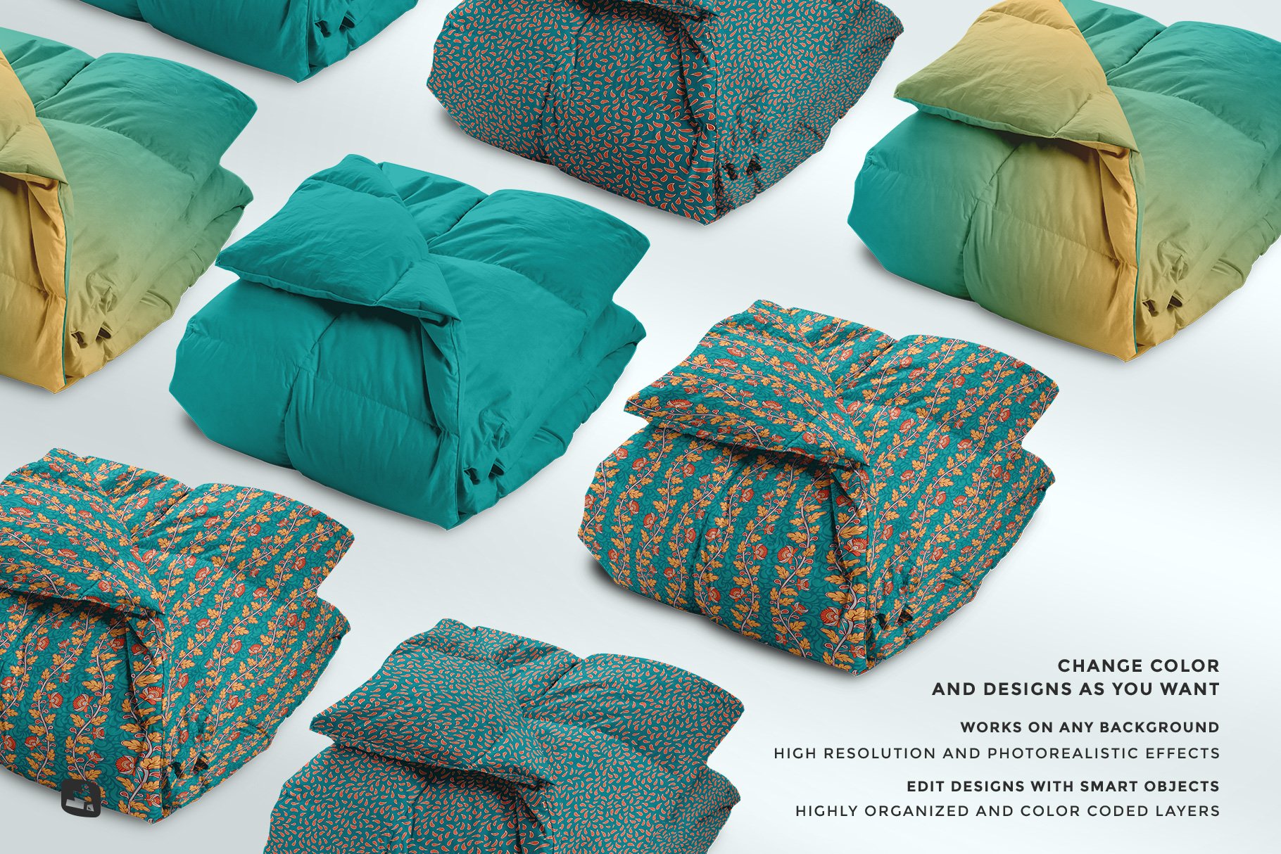 features of the folded comforter blanket mockup
