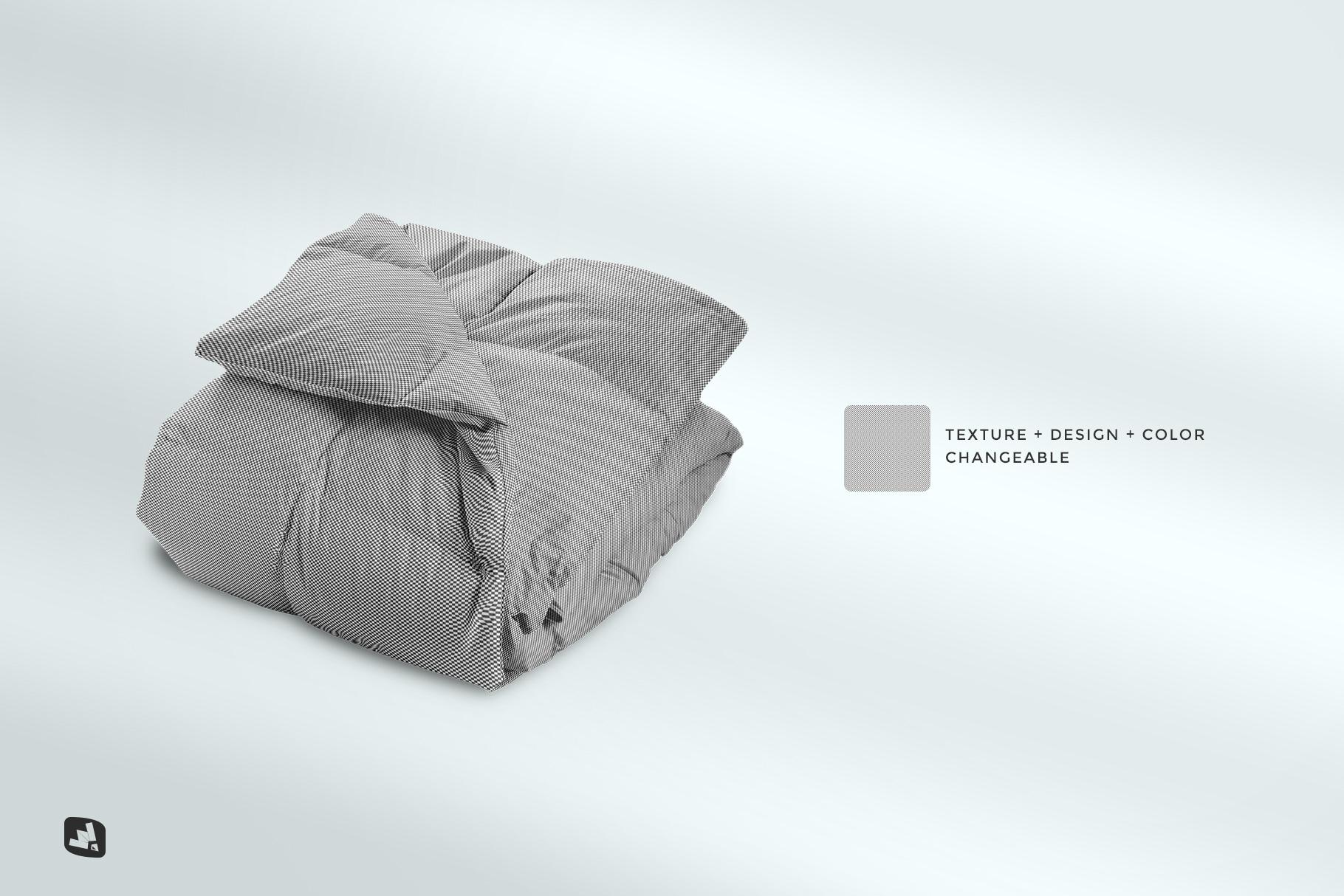 editability of the folded comforter blanket mockup