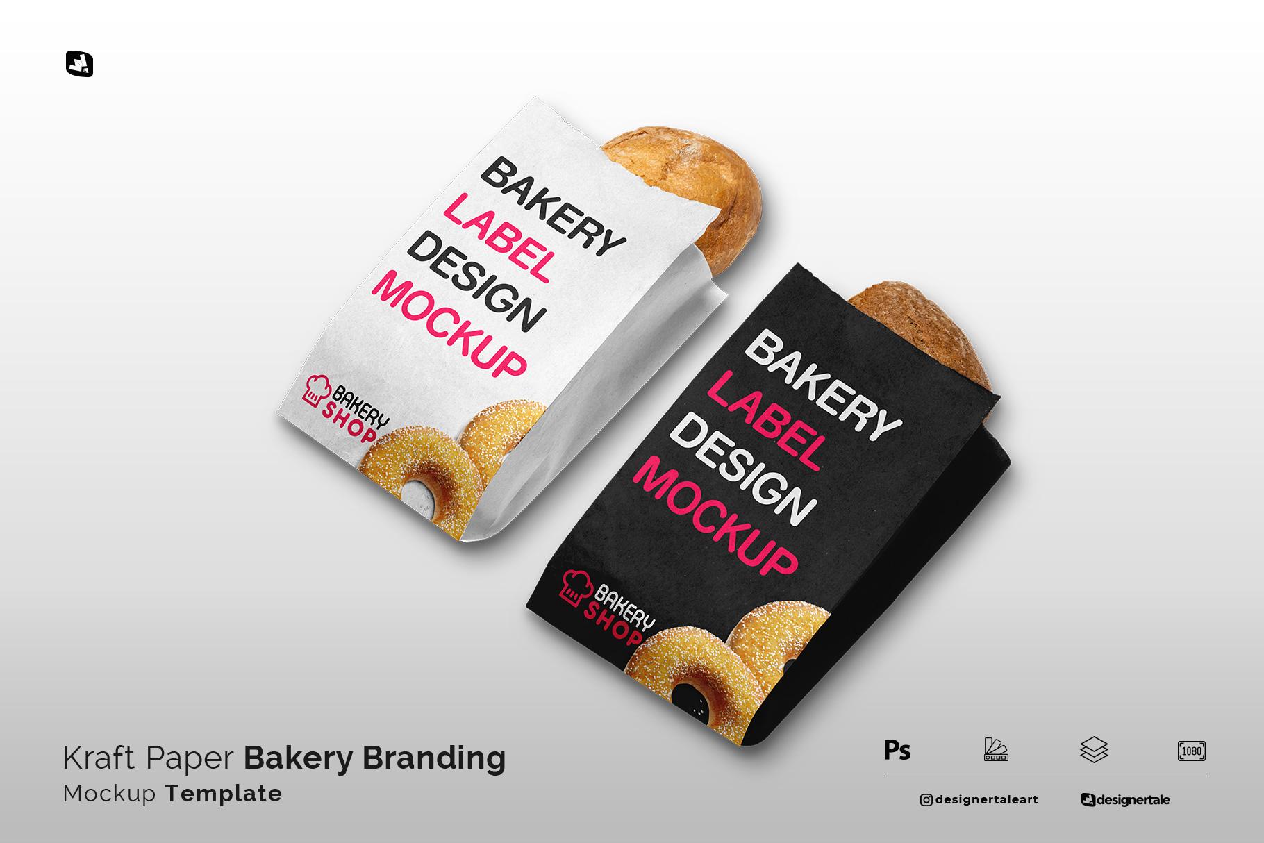 kraft paper bakery branding mockup