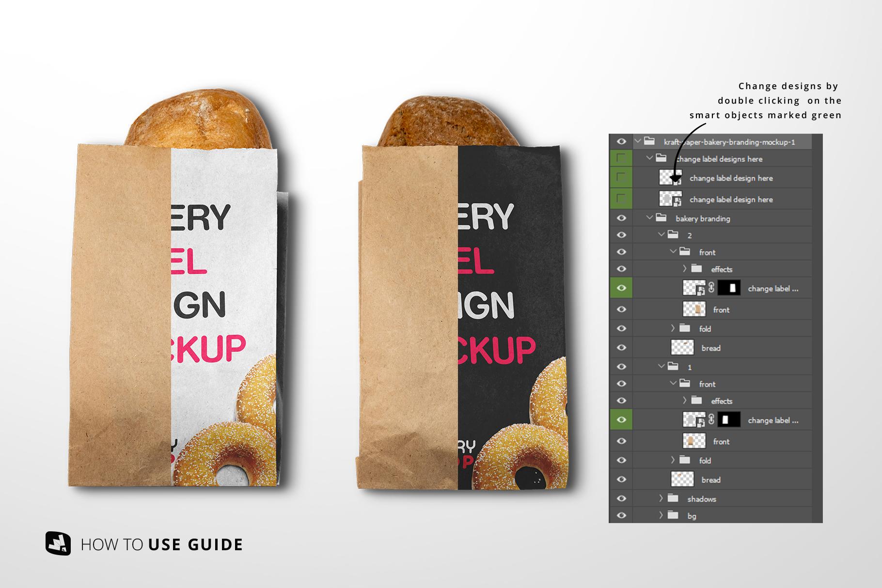 change label design of the kraft paper bakery branding mockup