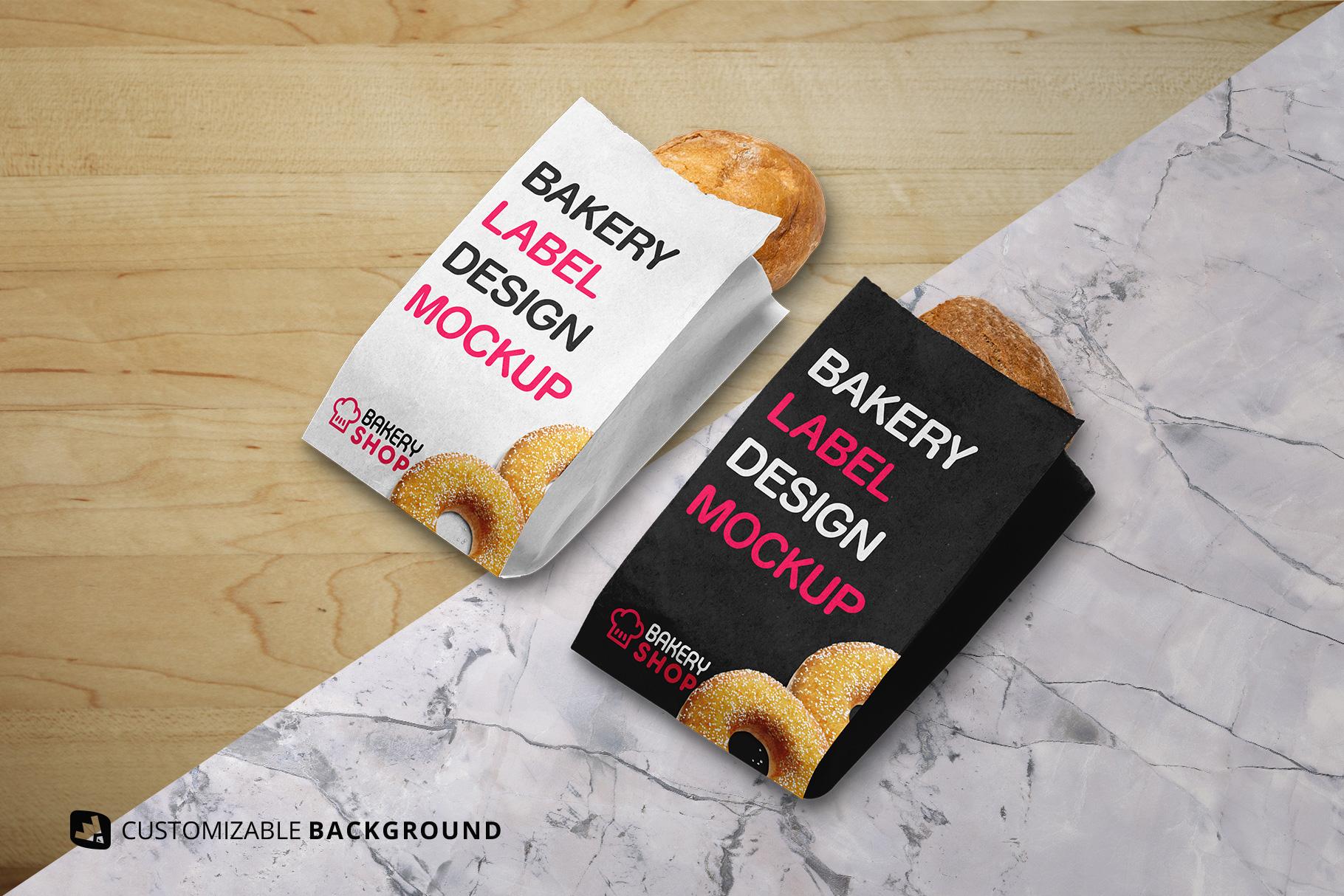 background options of the kraft paper bakery branding mockup