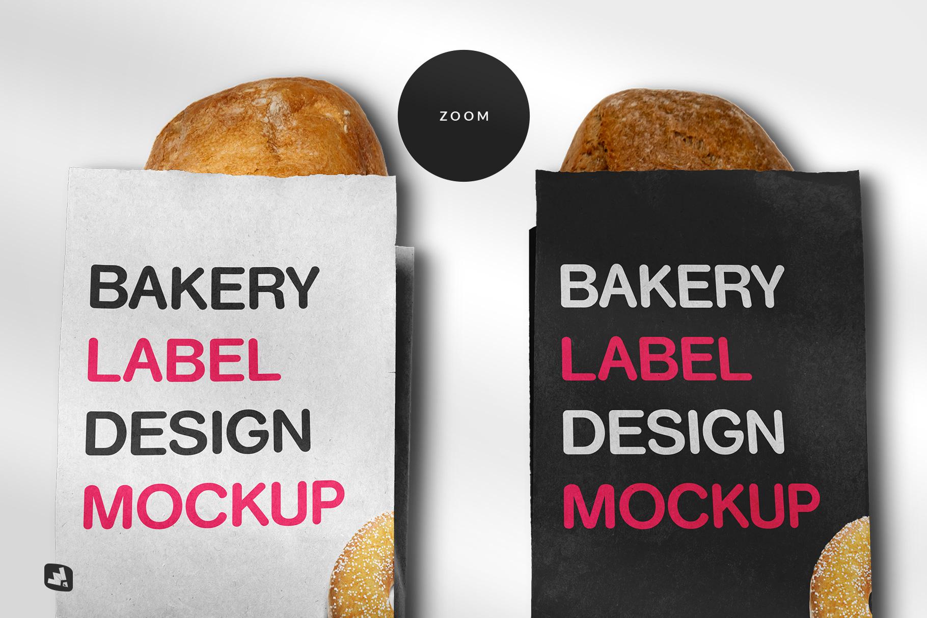 zoomed in image of the kraft paper bakery branding mockup