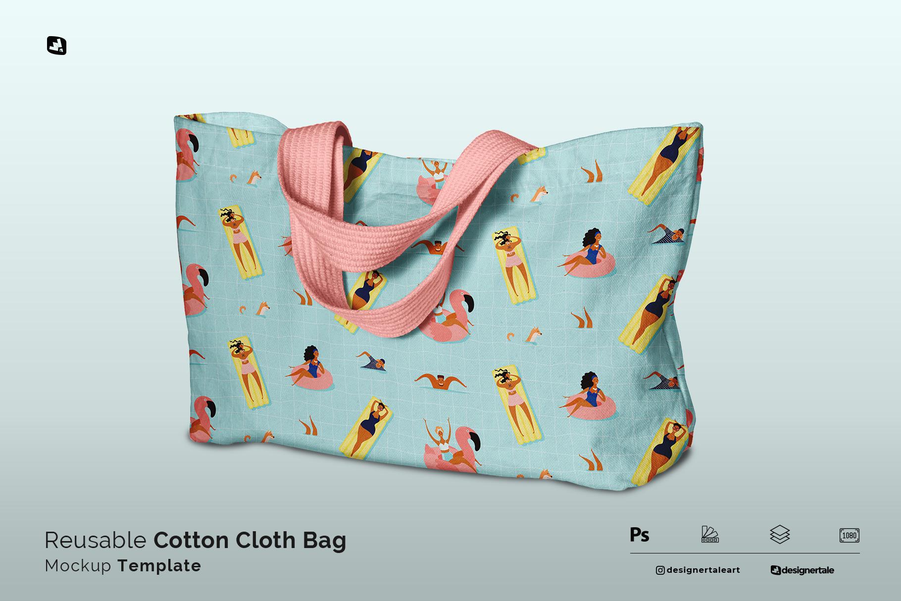 reusable cotton cloth bag mockup