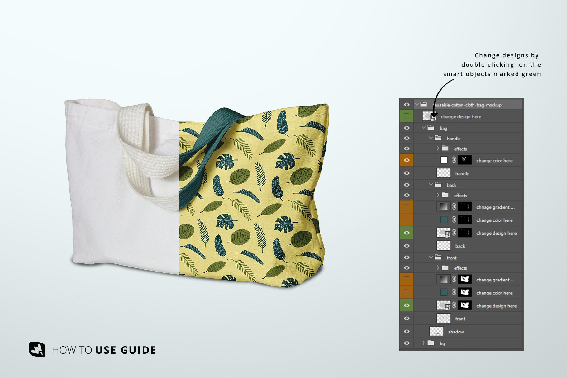 change design of the reusable cotton cloth bag mockup