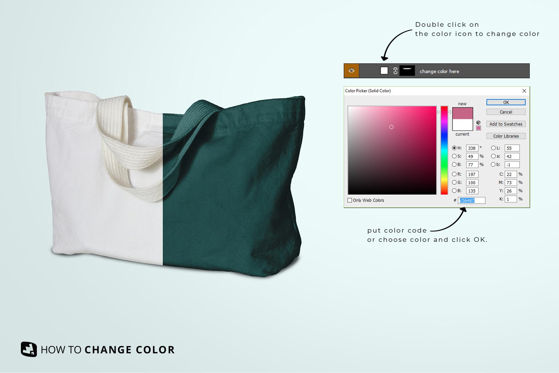 change color of the reusable cotton cloth bag mockup
