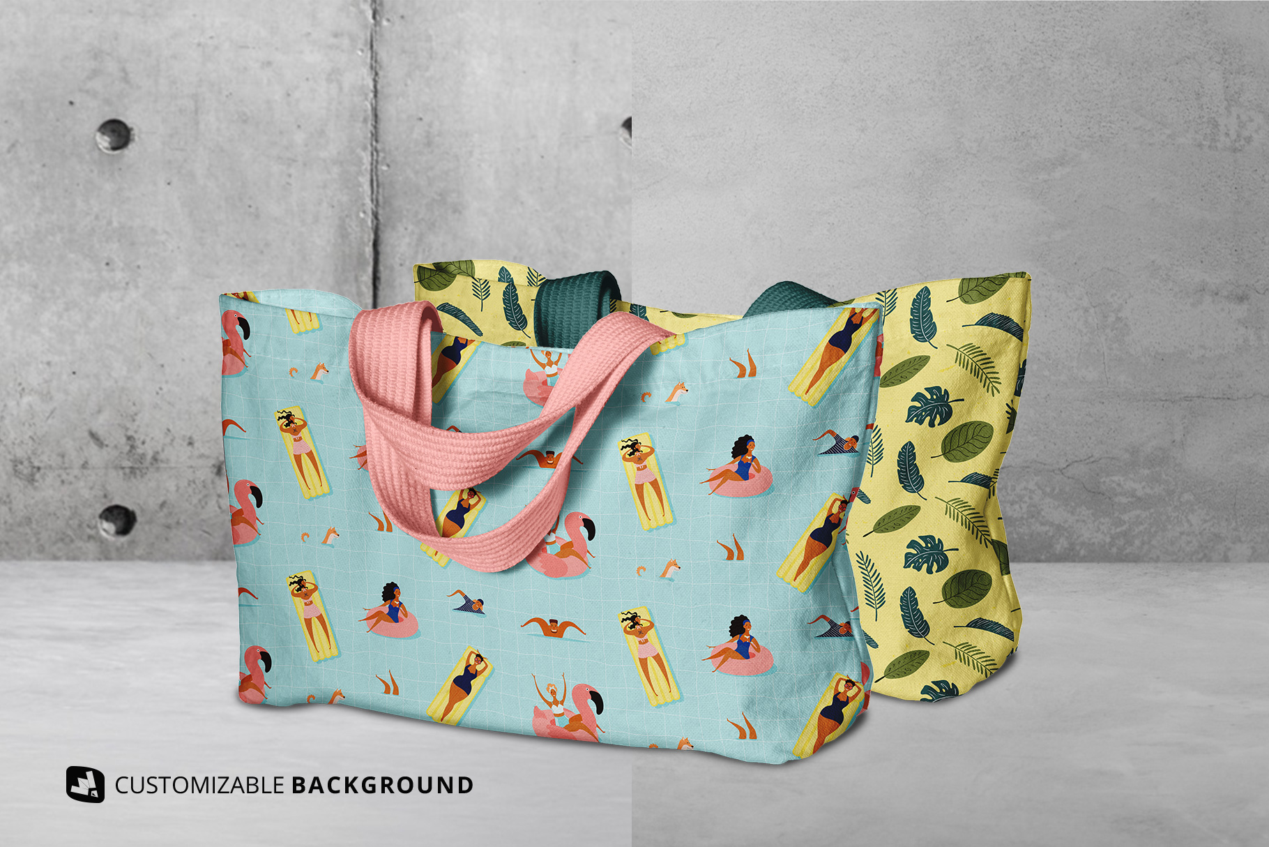 background options of the reusable cotton cloth bag mockup