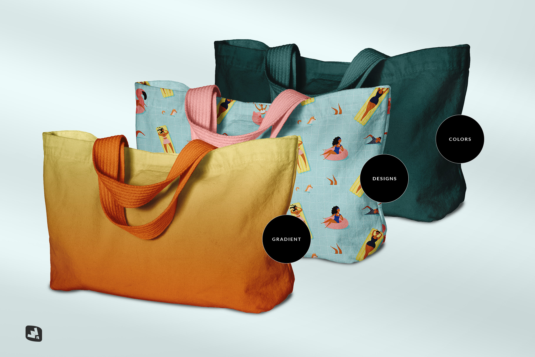 types of the reusable cotton cloth bag mockup