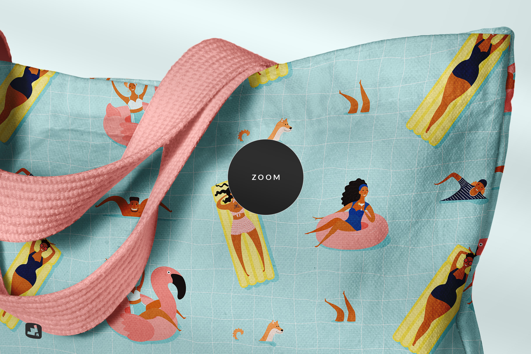 zoomed in image of the reusable cotton cloth bag mockup