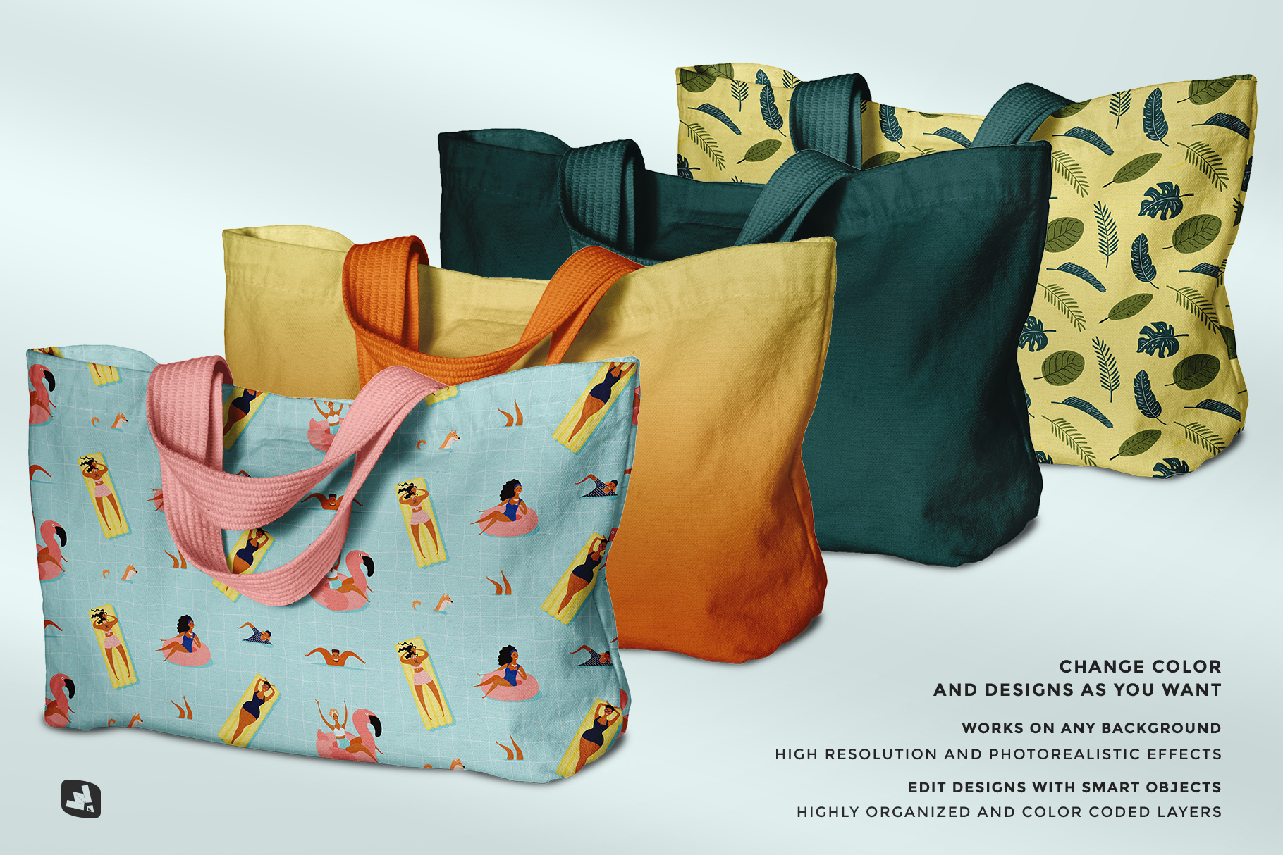 features of the reusable cotton cloth bag mockup